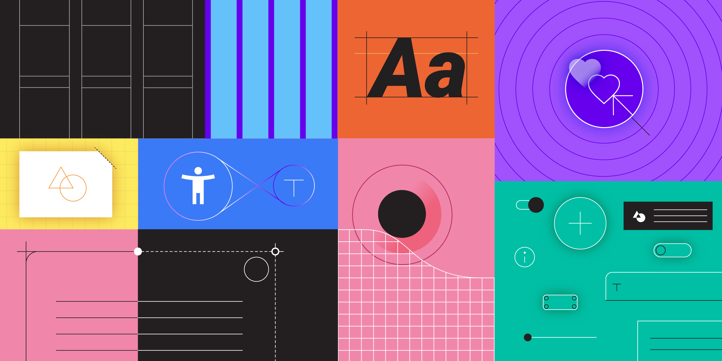 Image: sample moodboard of Google's Material Design system.