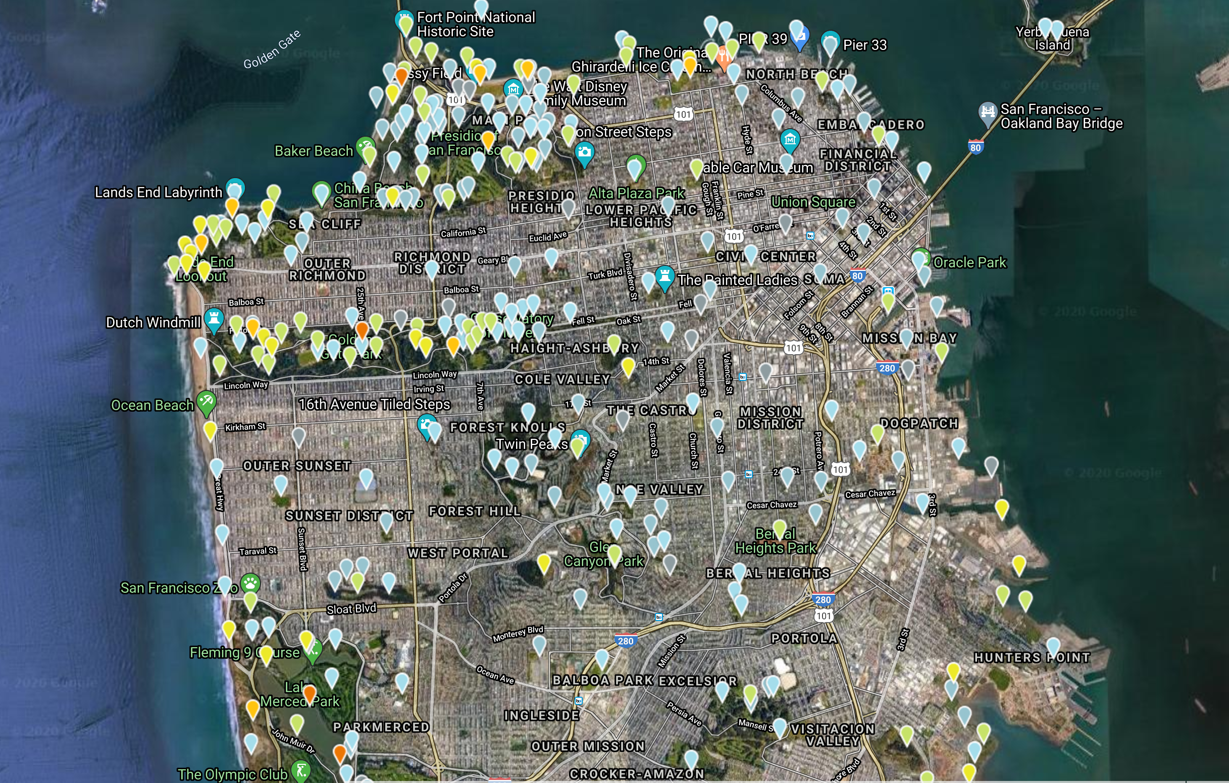 An image of a street map of San Francisco with hundreds of colored markers indicating birding hotpots.