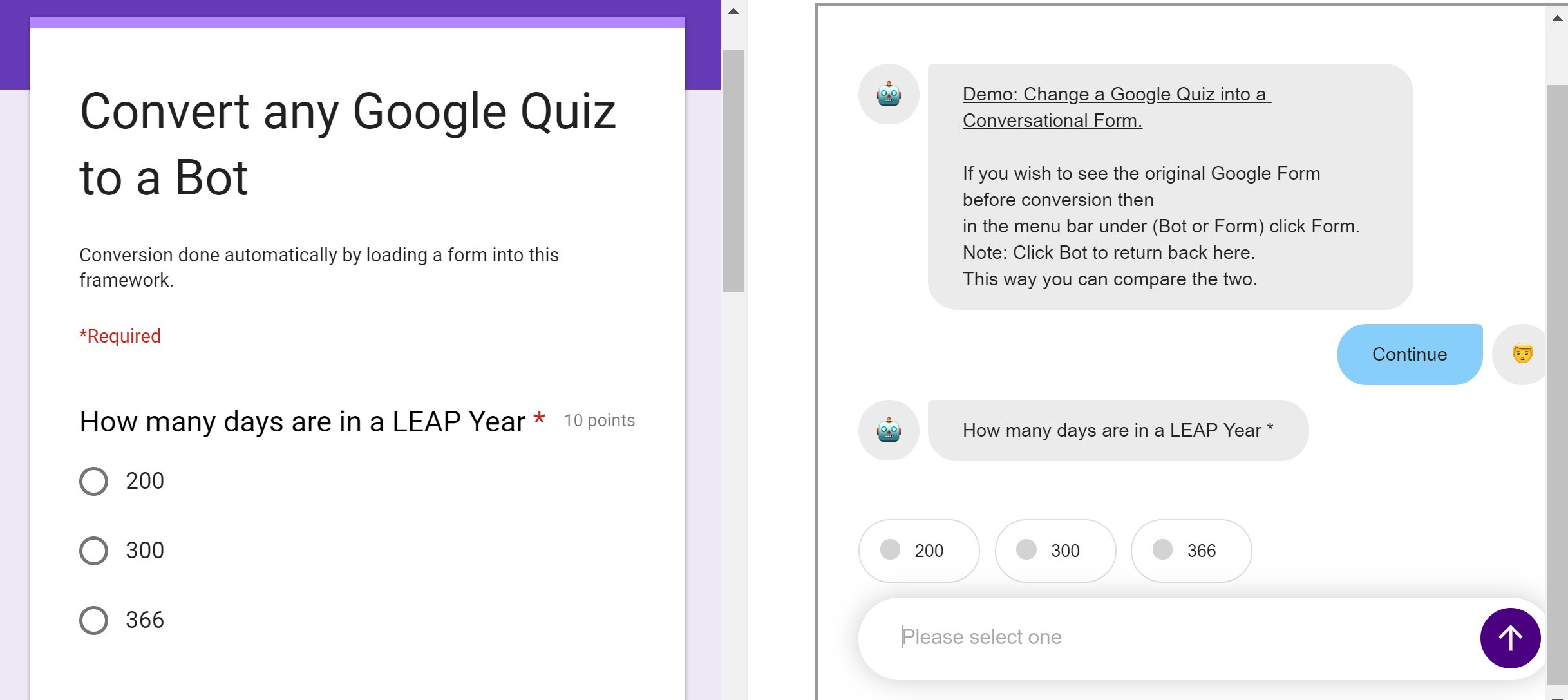 Convert a Google Quiz to a ChatBot without re-designing !