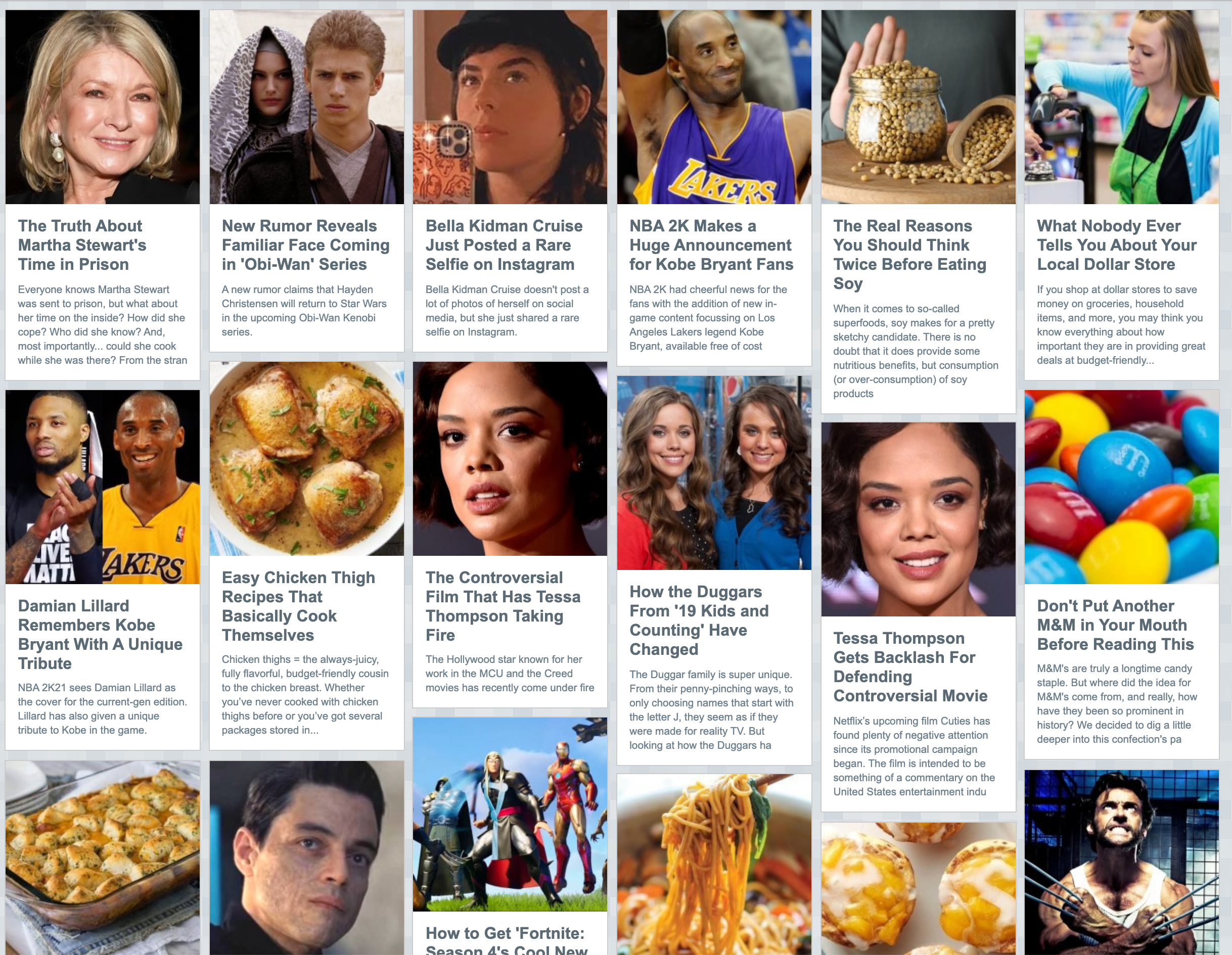 Grid of images and headlines