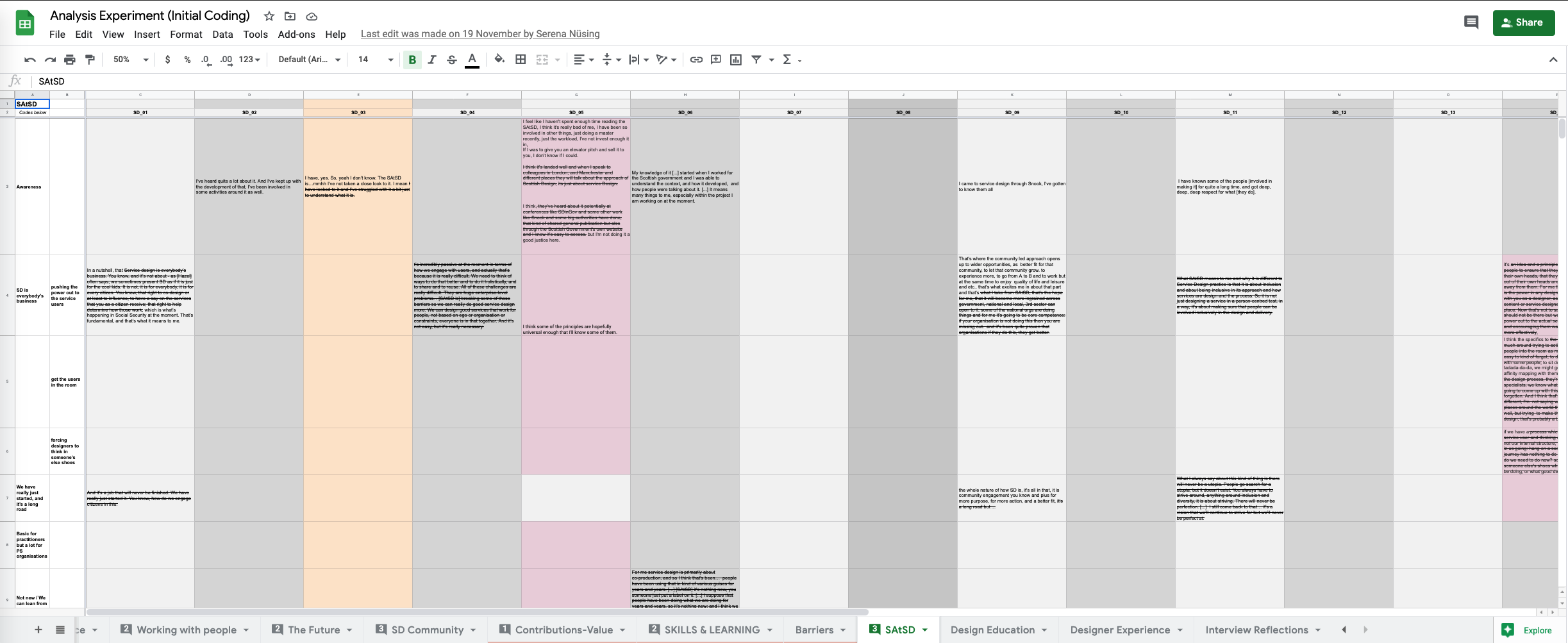 a screenshot of one tab of the spreadsheet we used to code the quotes