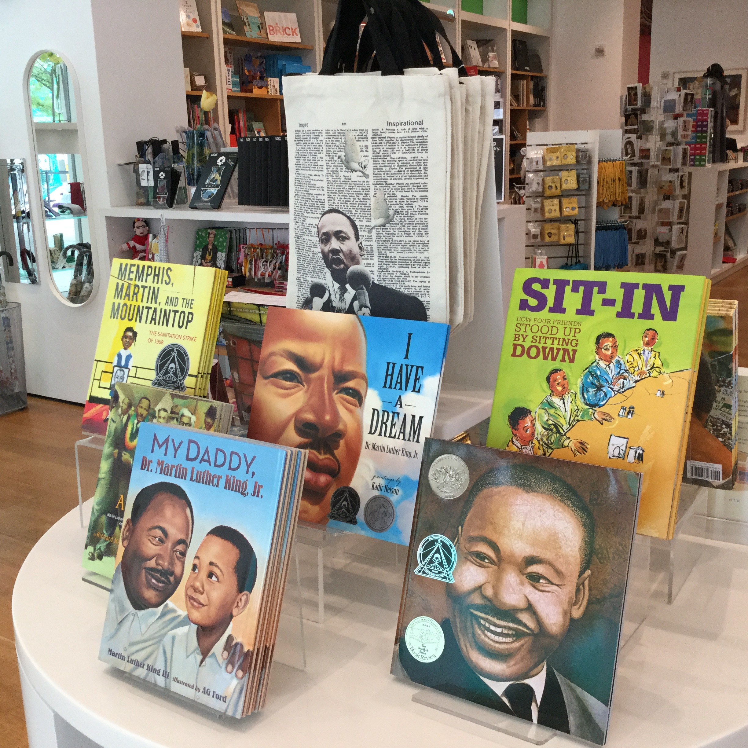 A display of children's books about the civil rights movement and equality.