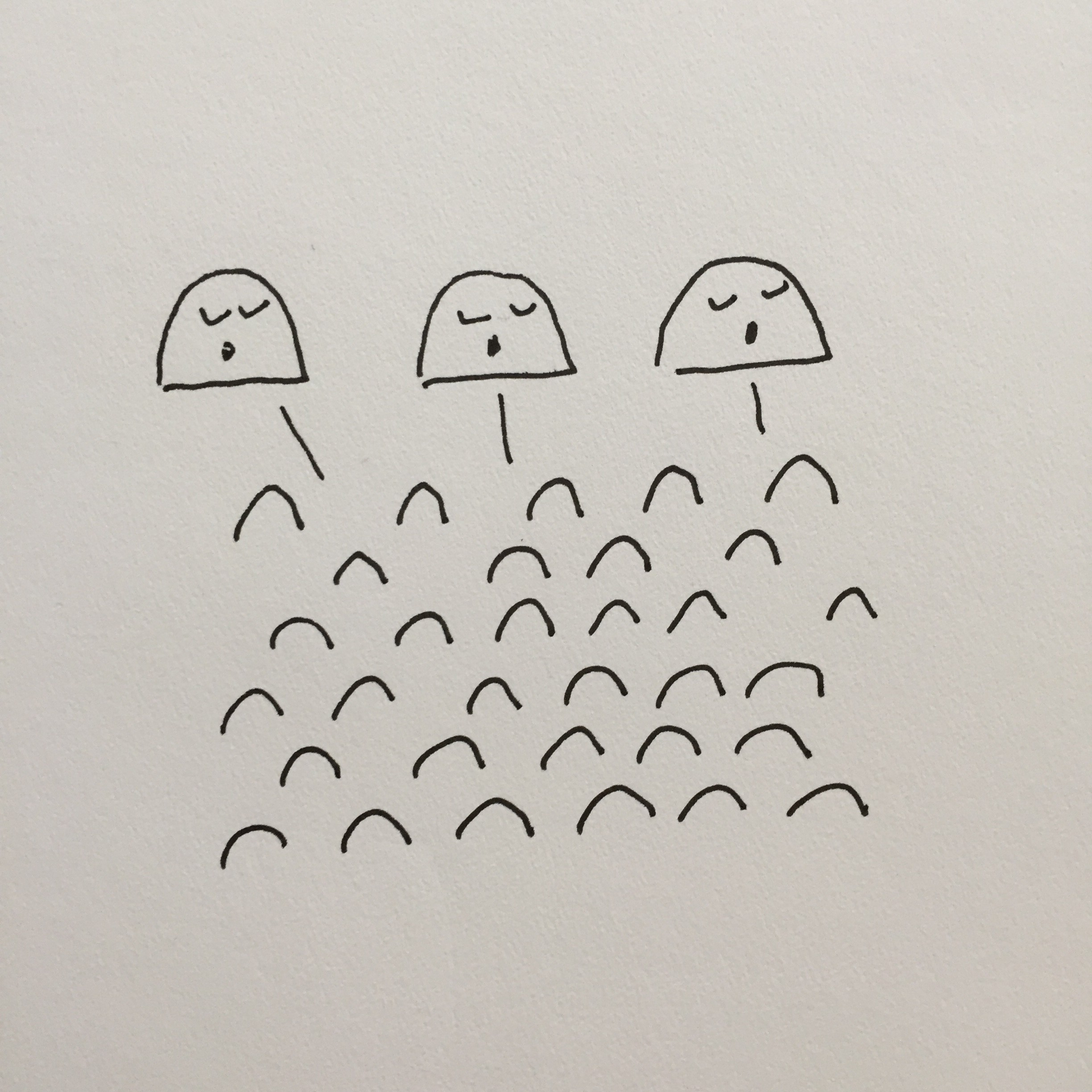 Ink illustration of three smug-looking gumdrop-shaped beings, mouths open, talking to an audience of other gumdrops.