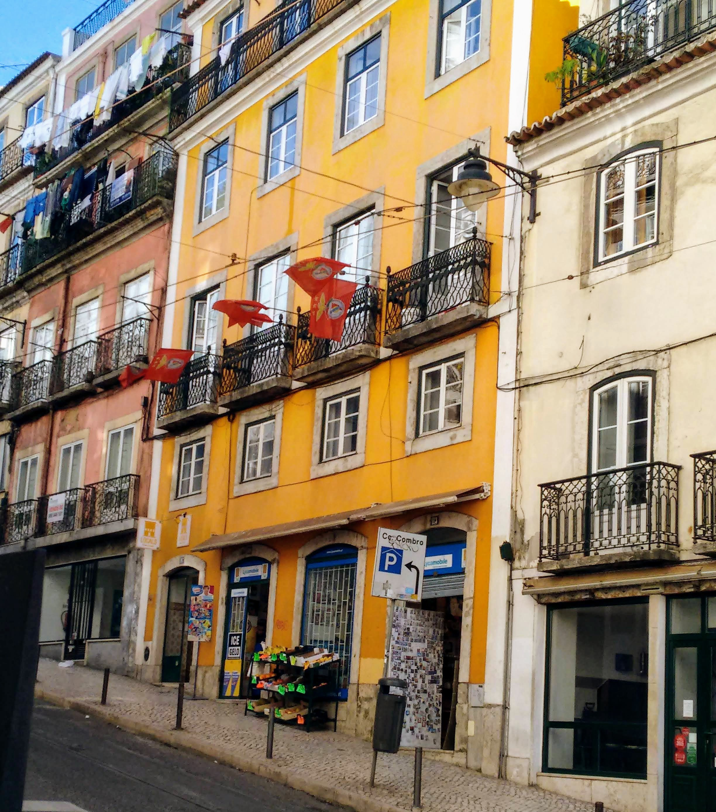 Facade of buildings in the Alfama neighborhood.