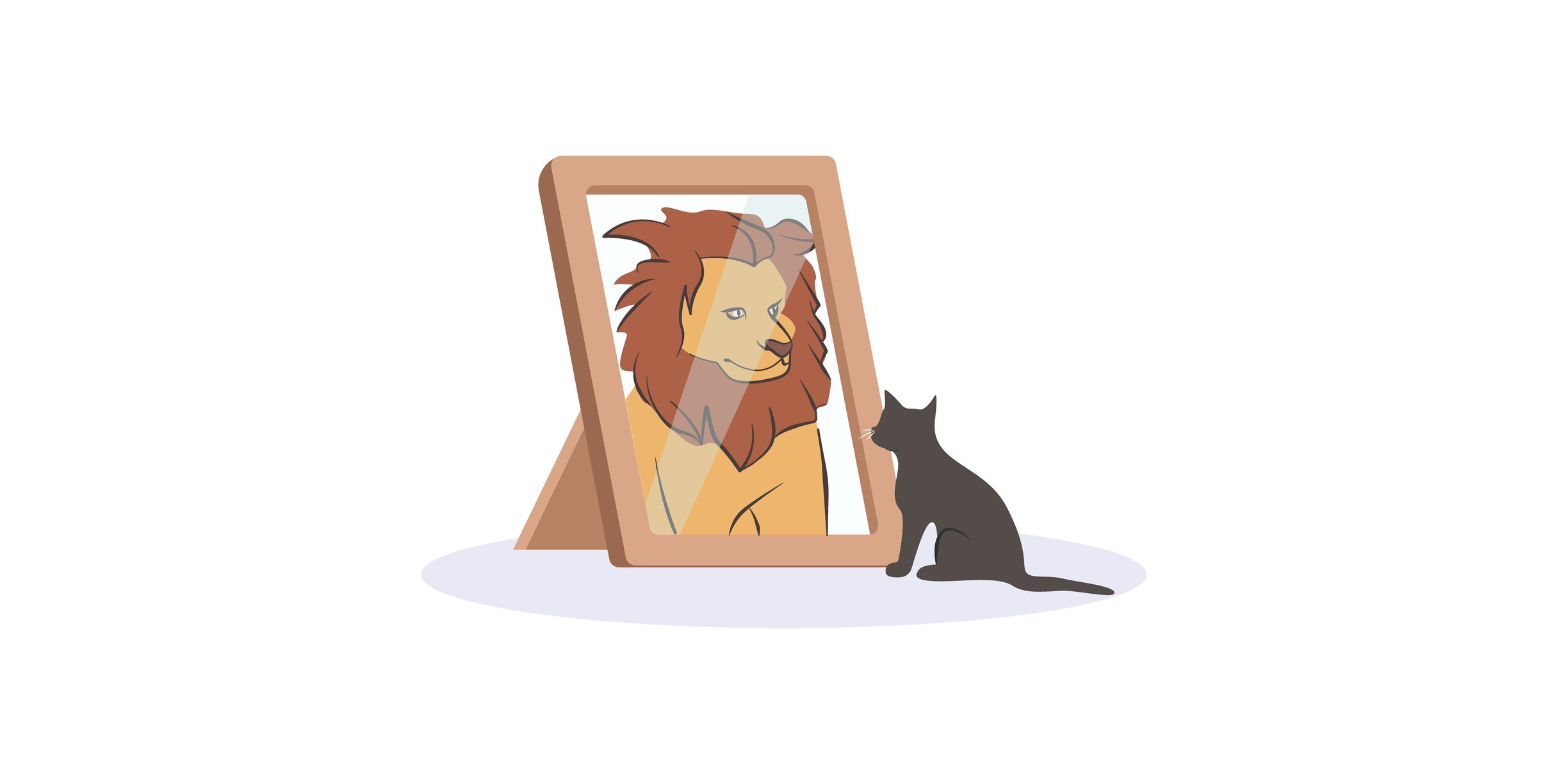 A cat looking into a mirror and seeing itself as a lion.