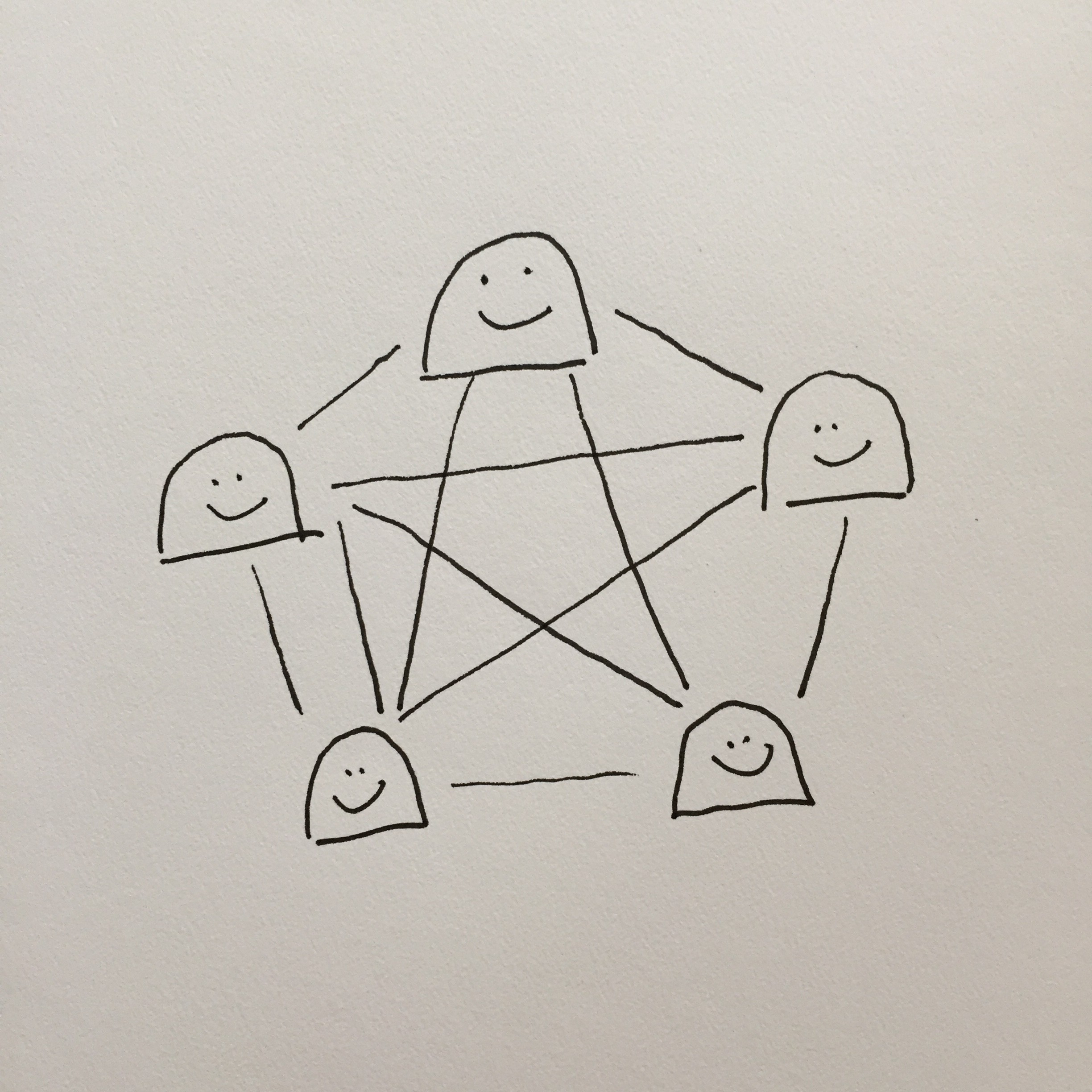 ink illustration of five happy gumdrop-looking creatures connected to each other, presumably talking to each other.