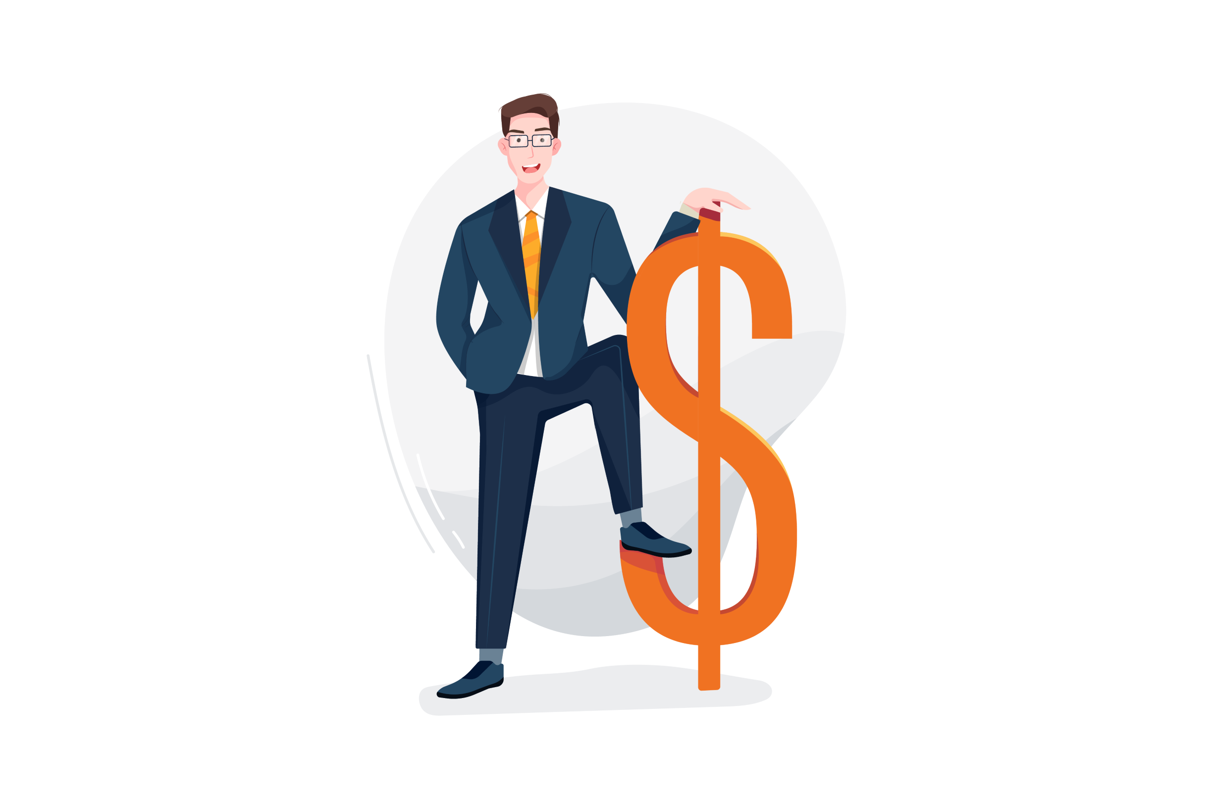 Graphic of a man in a suit standing holding a money sign
