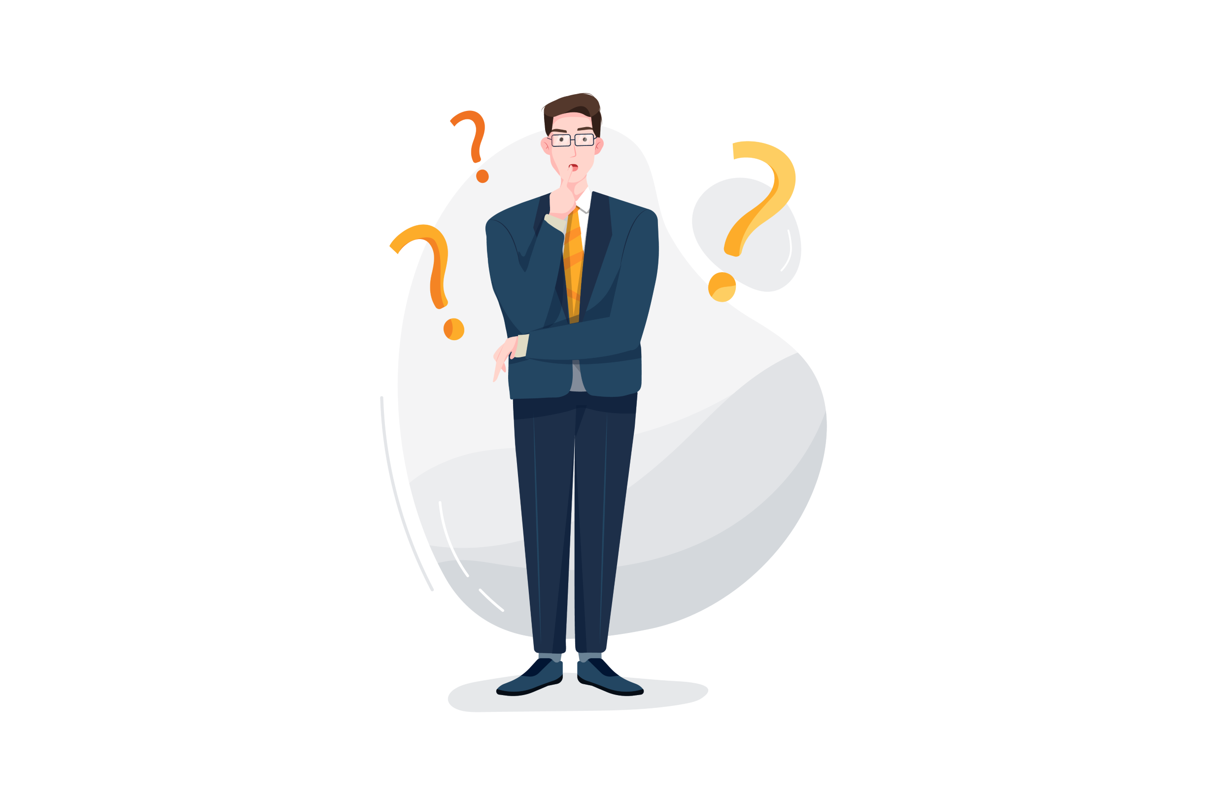 Graphic of a man standing with question marks around him