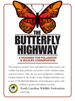 Butterfly Highway sign www.ncwf.org/butterfly-highway