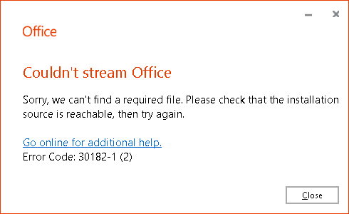 Office Professional Plus 2019 / 2016 Installation Error