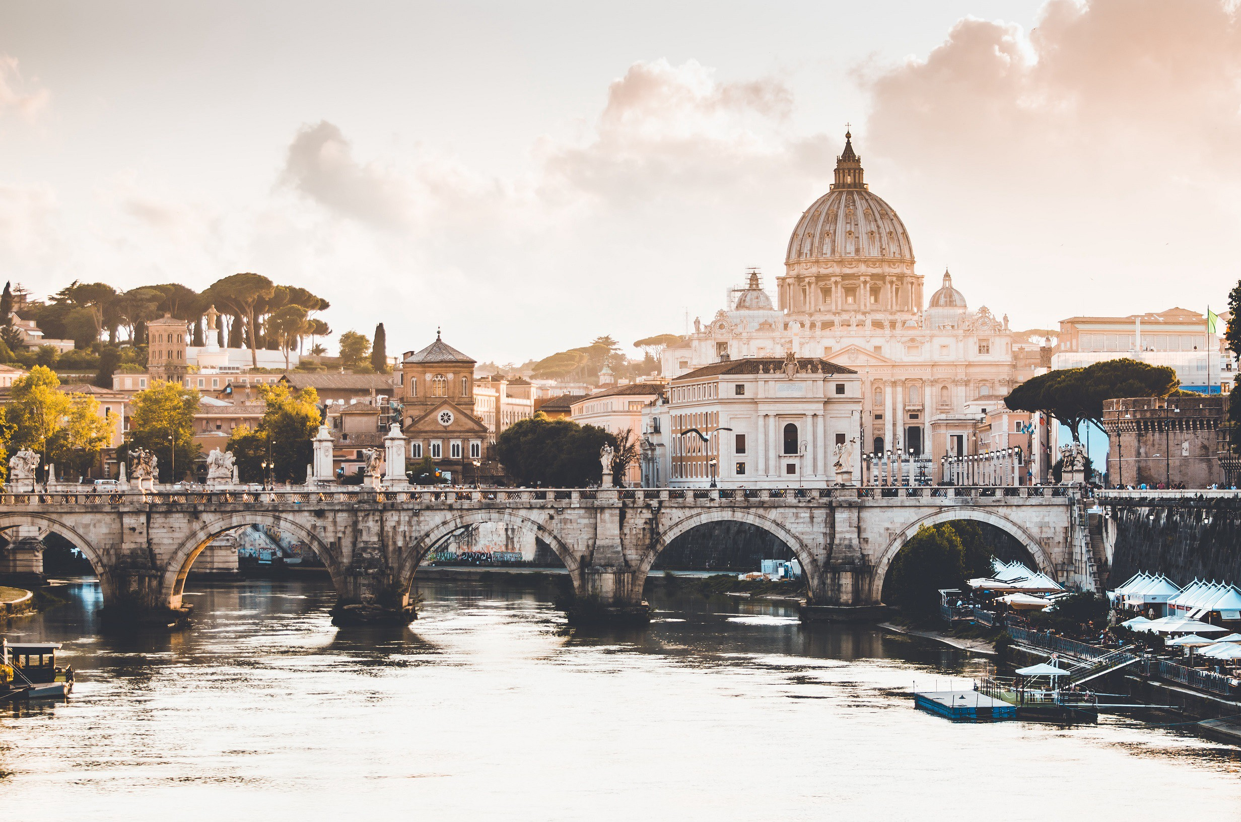 The Tiber river and Saint Peter's Basilica in Rome