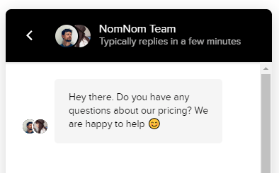 """Using great messaging while browsing like """"NomNom"""" does with Intercom can greatly improve conversion rates!"""