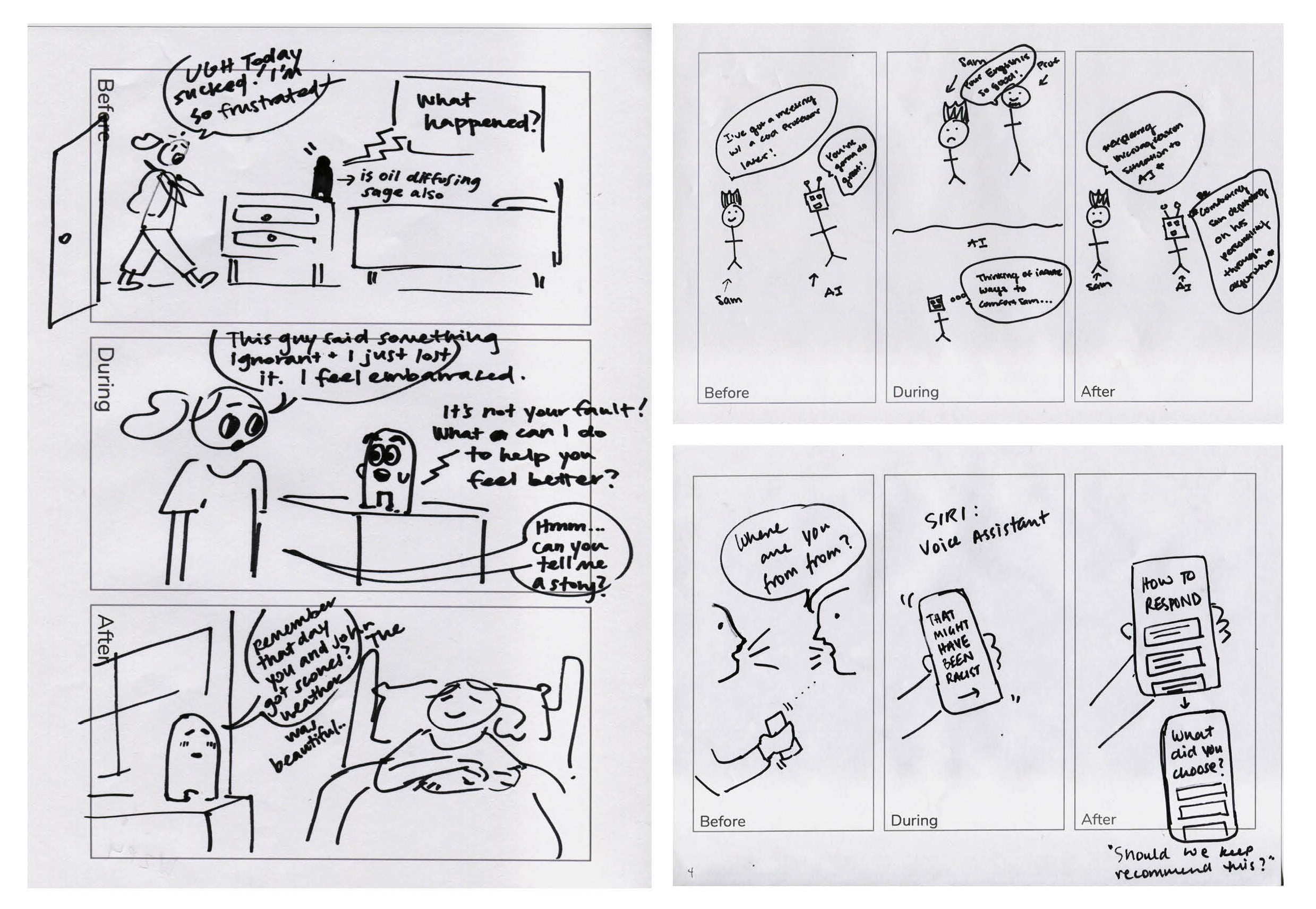 "3 hand-drawn sketches show future technologies, like a smart speaker that asks, ""How was your day? How can I help?"""