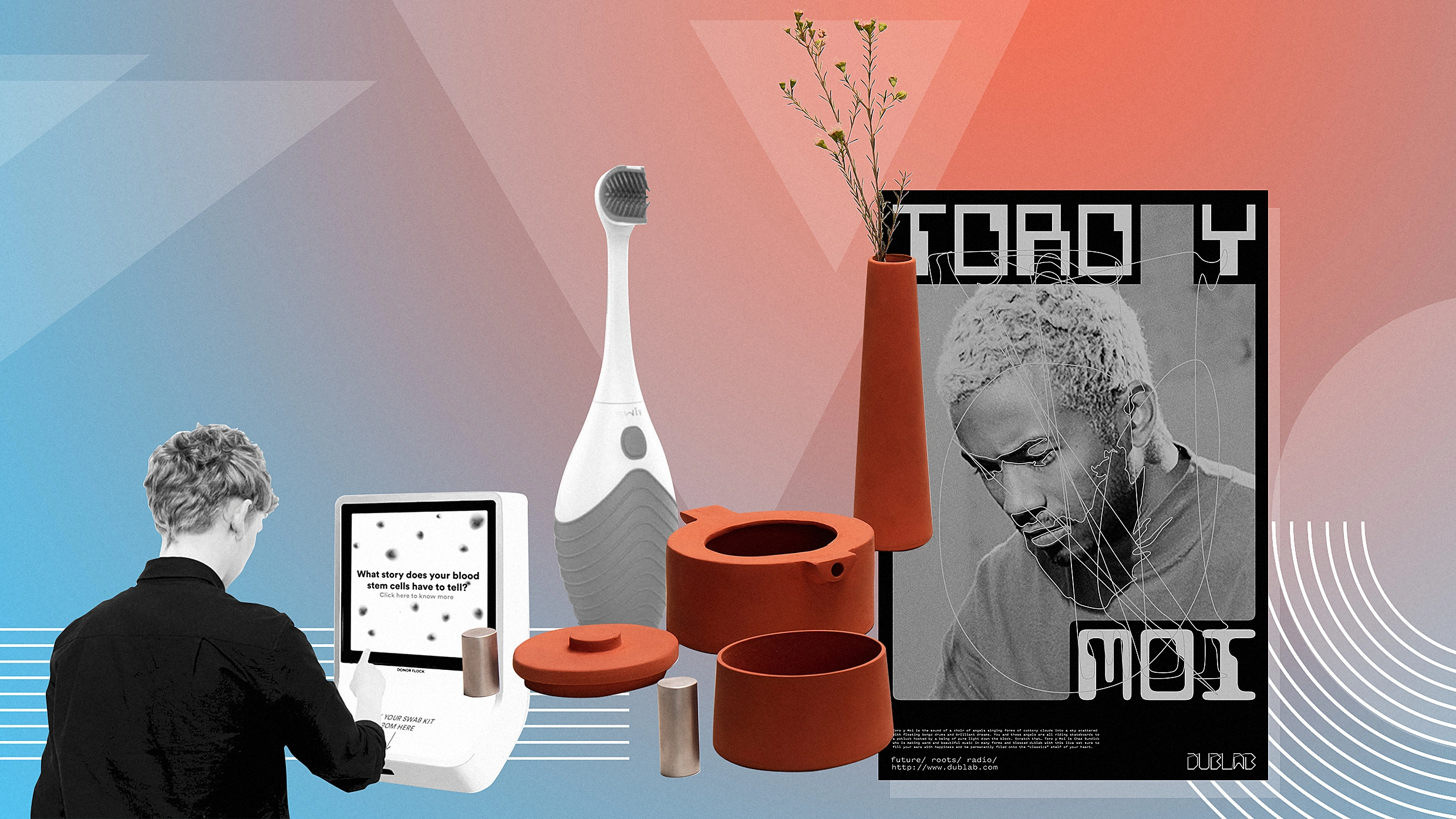 A collage of multiple student design projects, including Swiv, a wide-handled toothbrush.