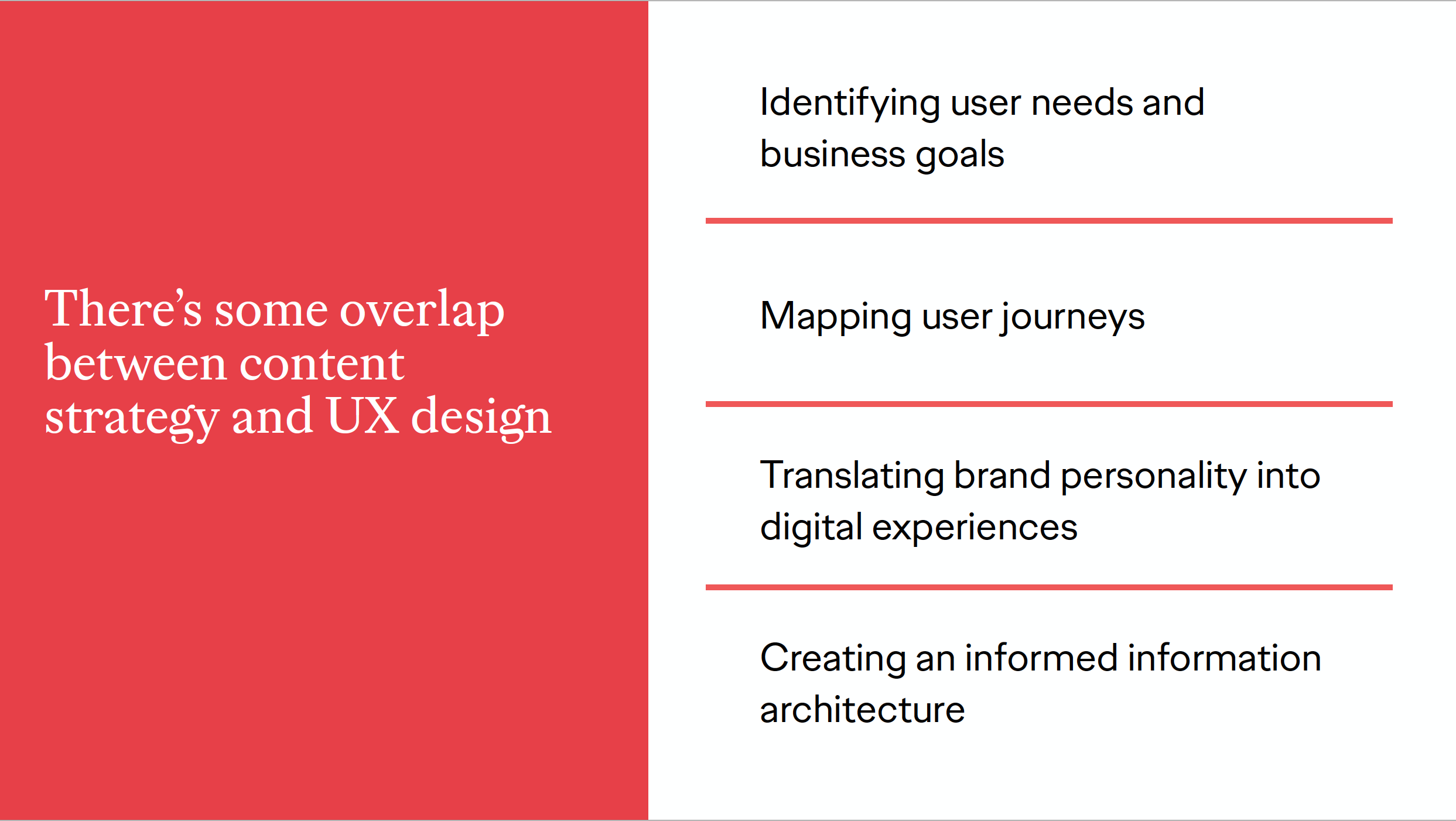 A slide explaining how content strategy and ux design have overlapping goals