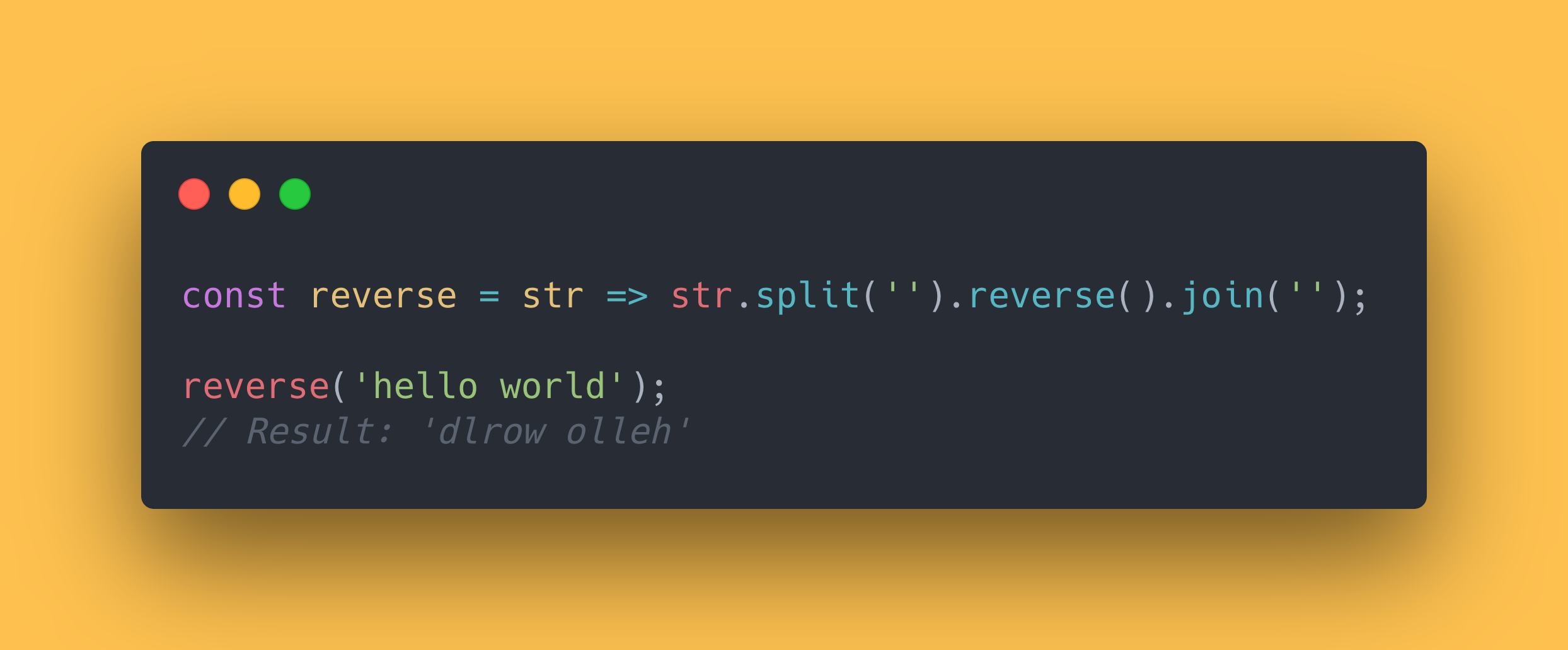 JS code block showing how to reverse a string.