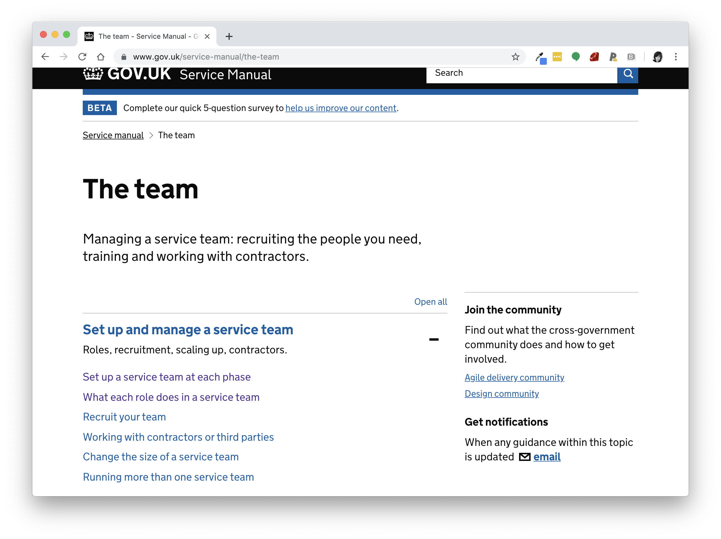 Image of the team page on the GOV.UK service manual