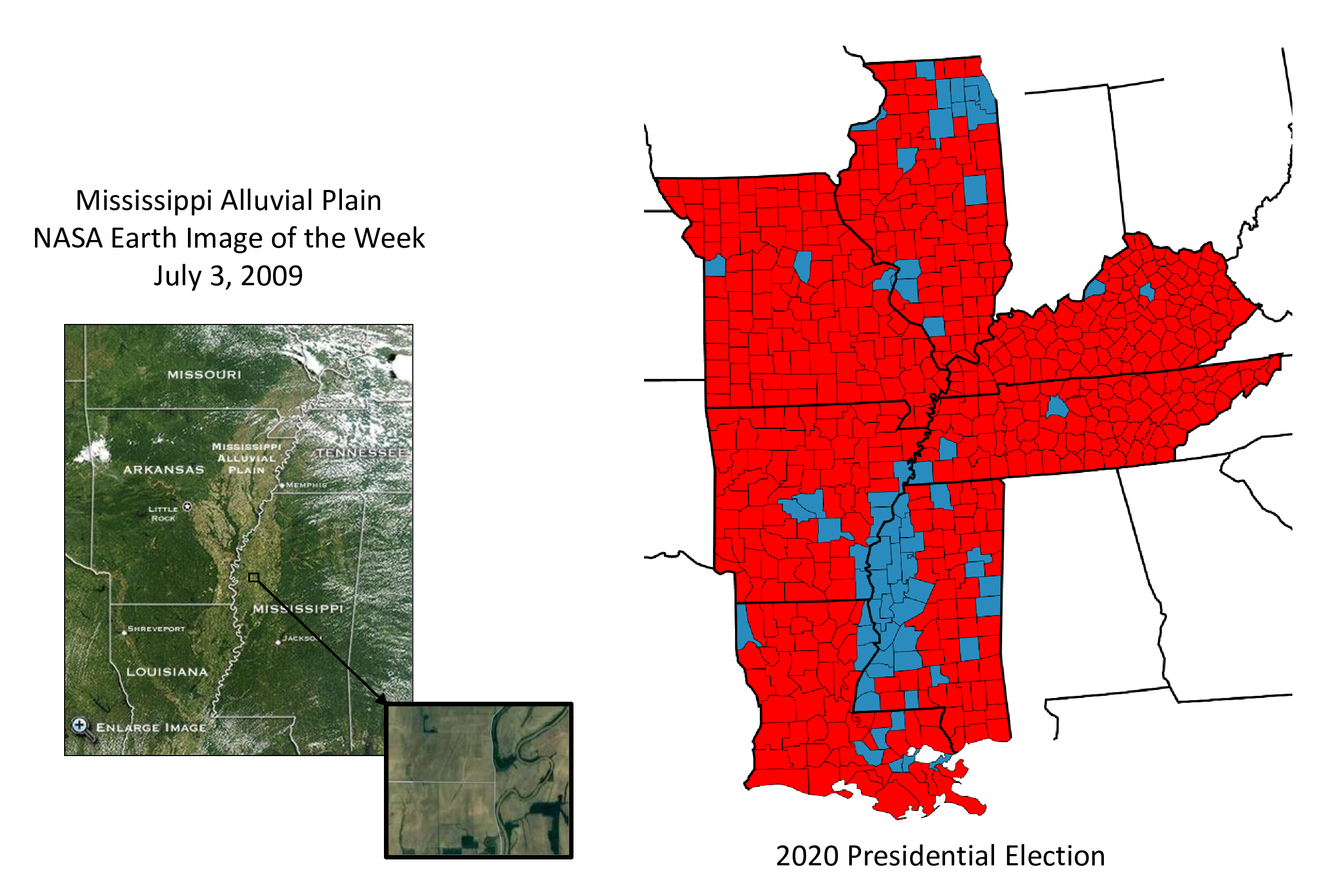 Mississippi Alluvial Plain, NASA satellite imagery and 2020 presidential election map