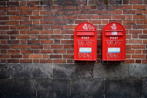 Two red British postboxes