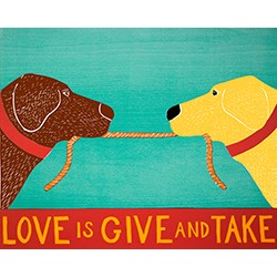 Love is give and take. A picture depicting two dogs holding each others' leashes.
