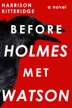 Cover of Before Holmes Met Watson. A red background featuring a raven with white lettering.
