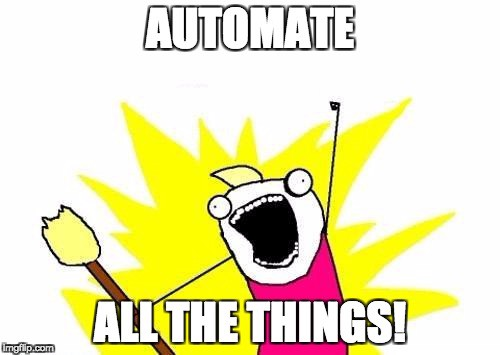 Cartoon with lettering that reads Automated All The Things!