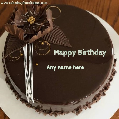 Sensational Special Wish On Chocolate Cake Pic With Name Cakedayphotoframes Funny Birthday Cards Online Fluifree Goldxyz