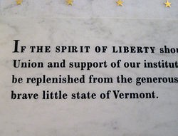 Part of the famous Coolidge statement inscribed on the wall of the Vermont statehouse
