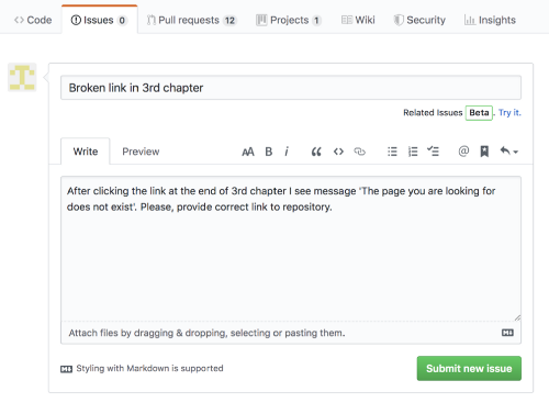Adding issue in GitHub