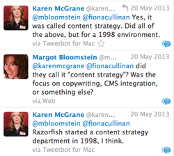 Twitter conversation debating whether content strategy was a term used in 1998.