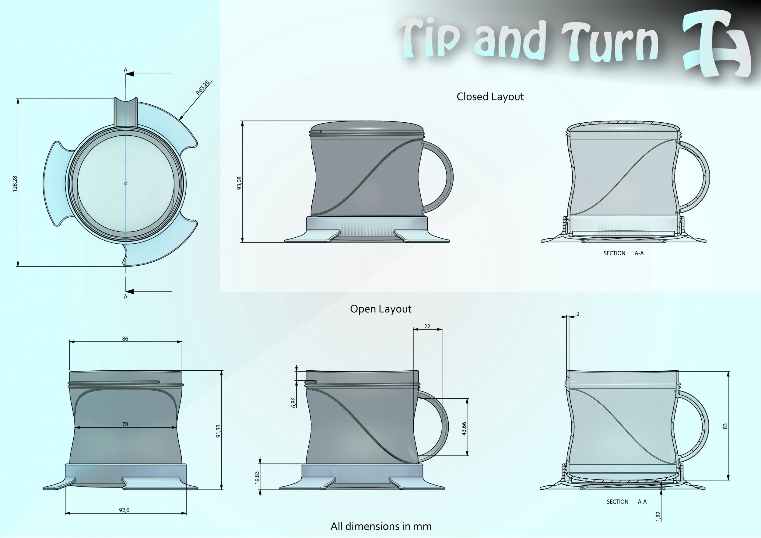 Tip and turn Dimensions