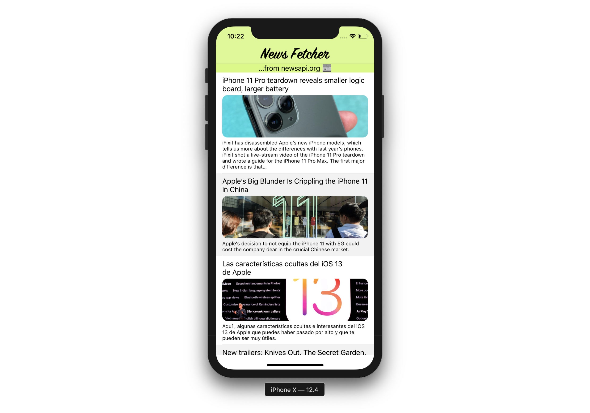 A screenshot of an iPhone showing news articles in a custom app