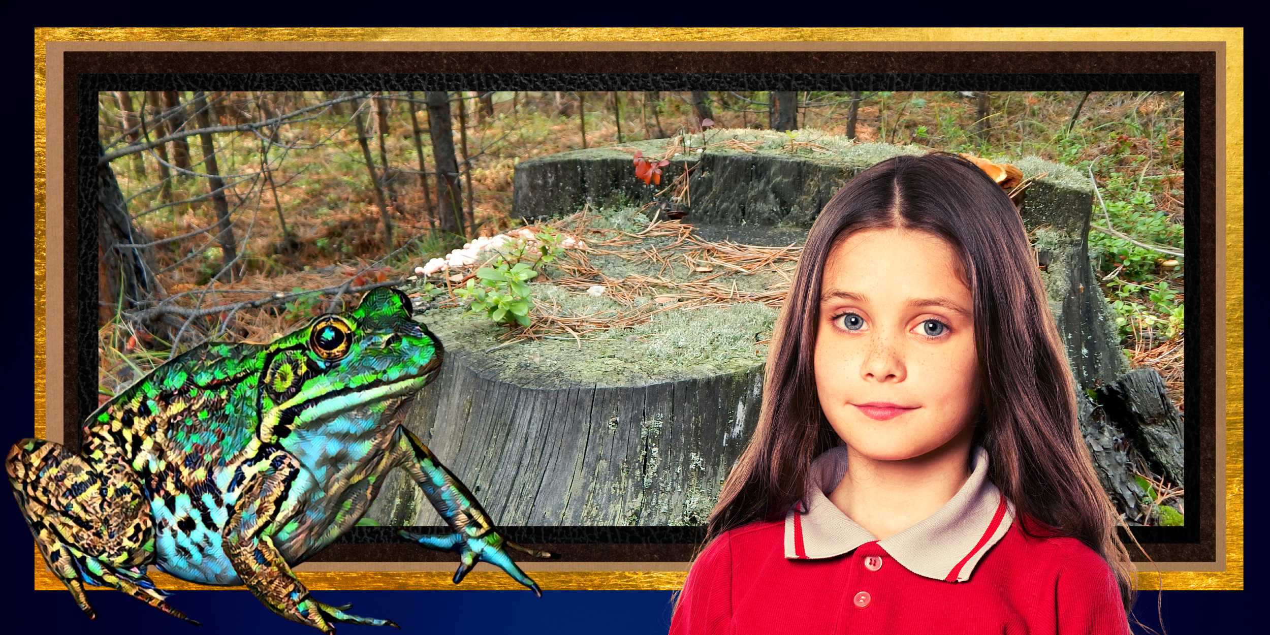 A large green frog, a stump in a wooded clearing, and a young girl with a half serious look on her face.