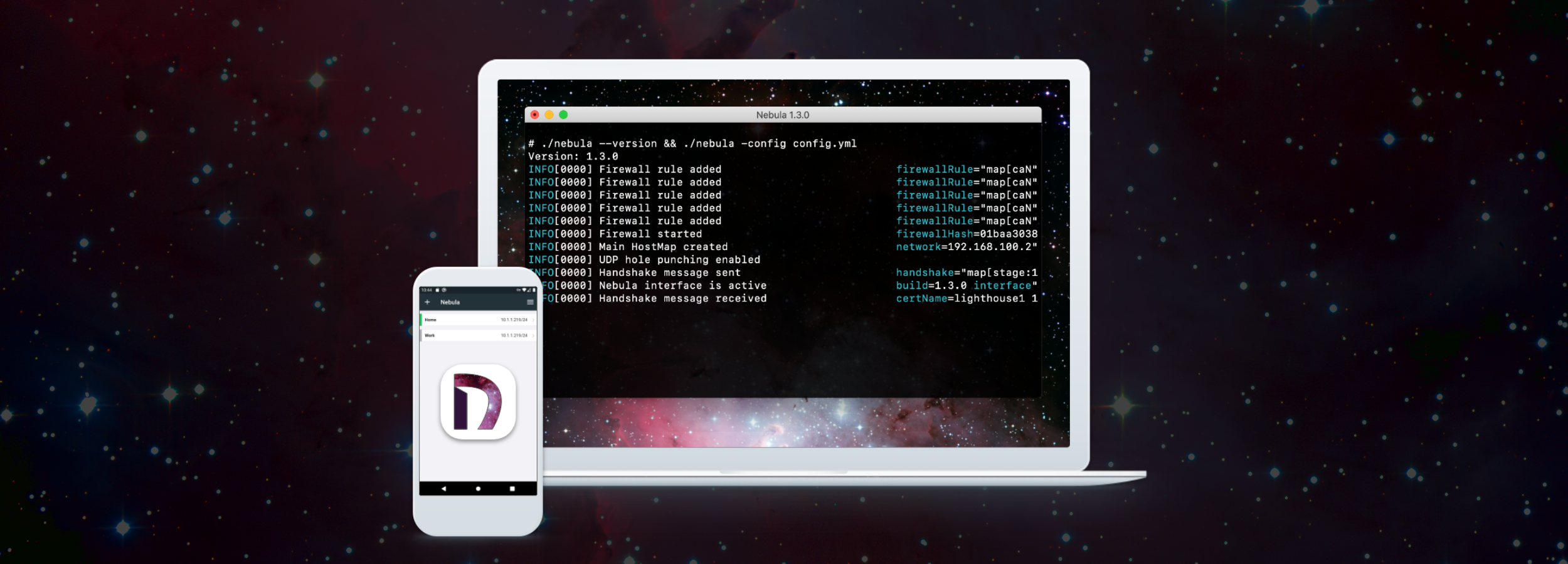 Screenshot of Nebula running on a laptop and a mobile phone