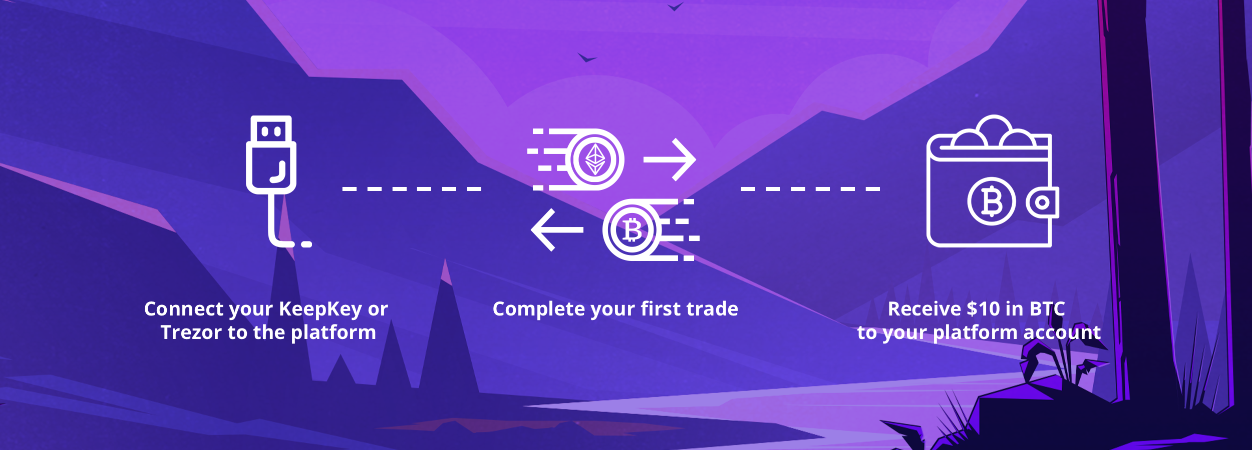Connect your KeepKey or Trezor to the ShapeShift Platform, complete your first trade, Receive $10 in bitcoin.