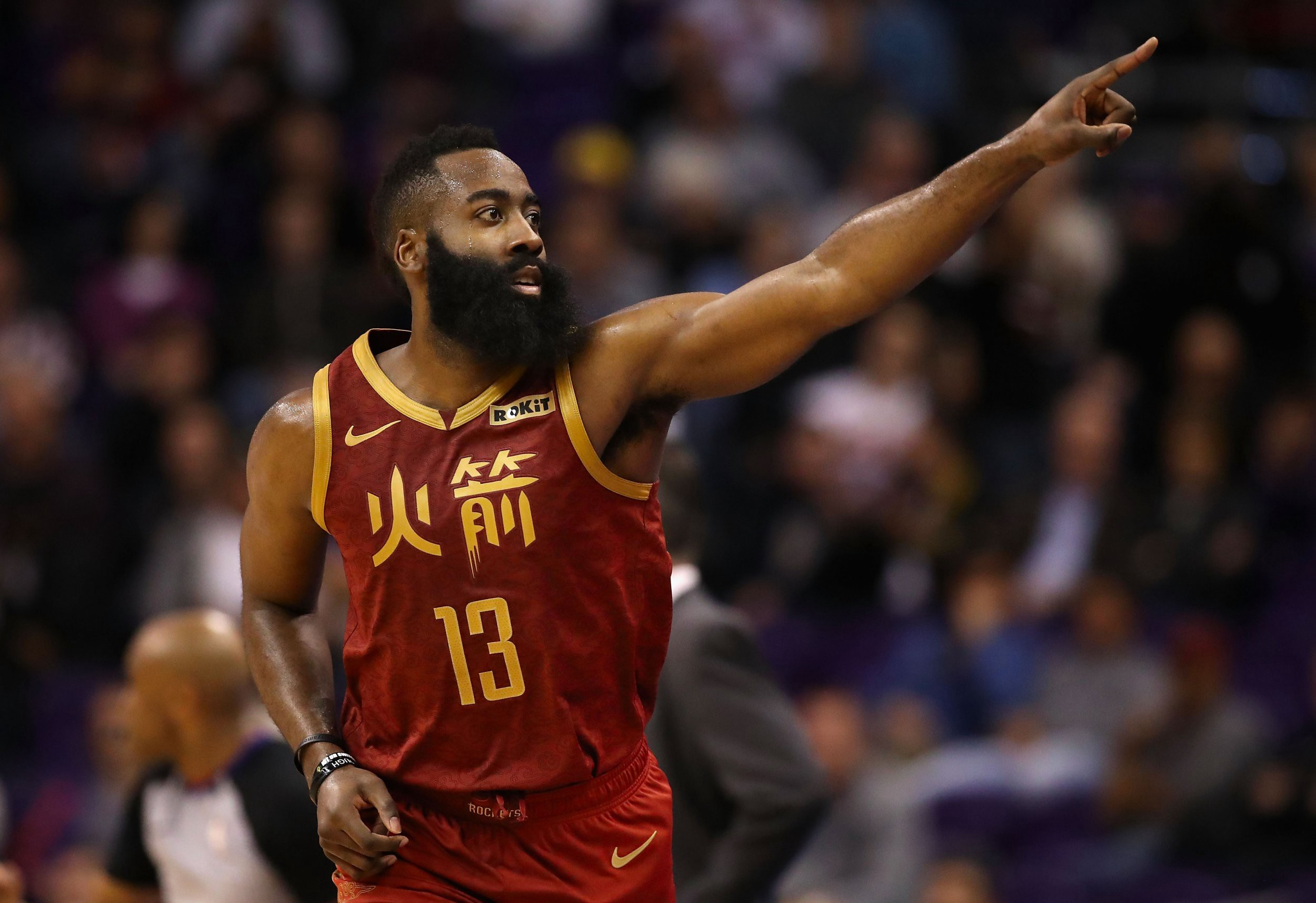 James Harden wearing special, Chinese New Year themed jersey. The Rockets are no longer popular team in China, however.