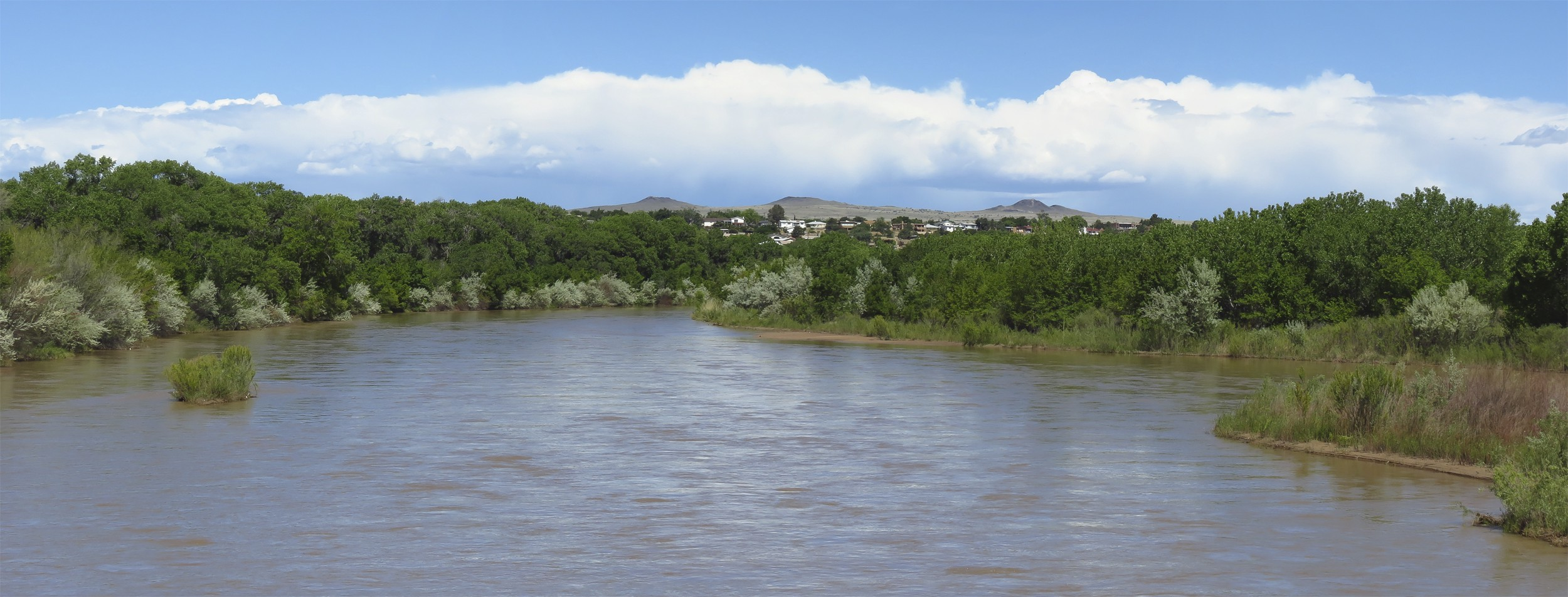 The Rio Grande with extinct volcanoes in the distance.