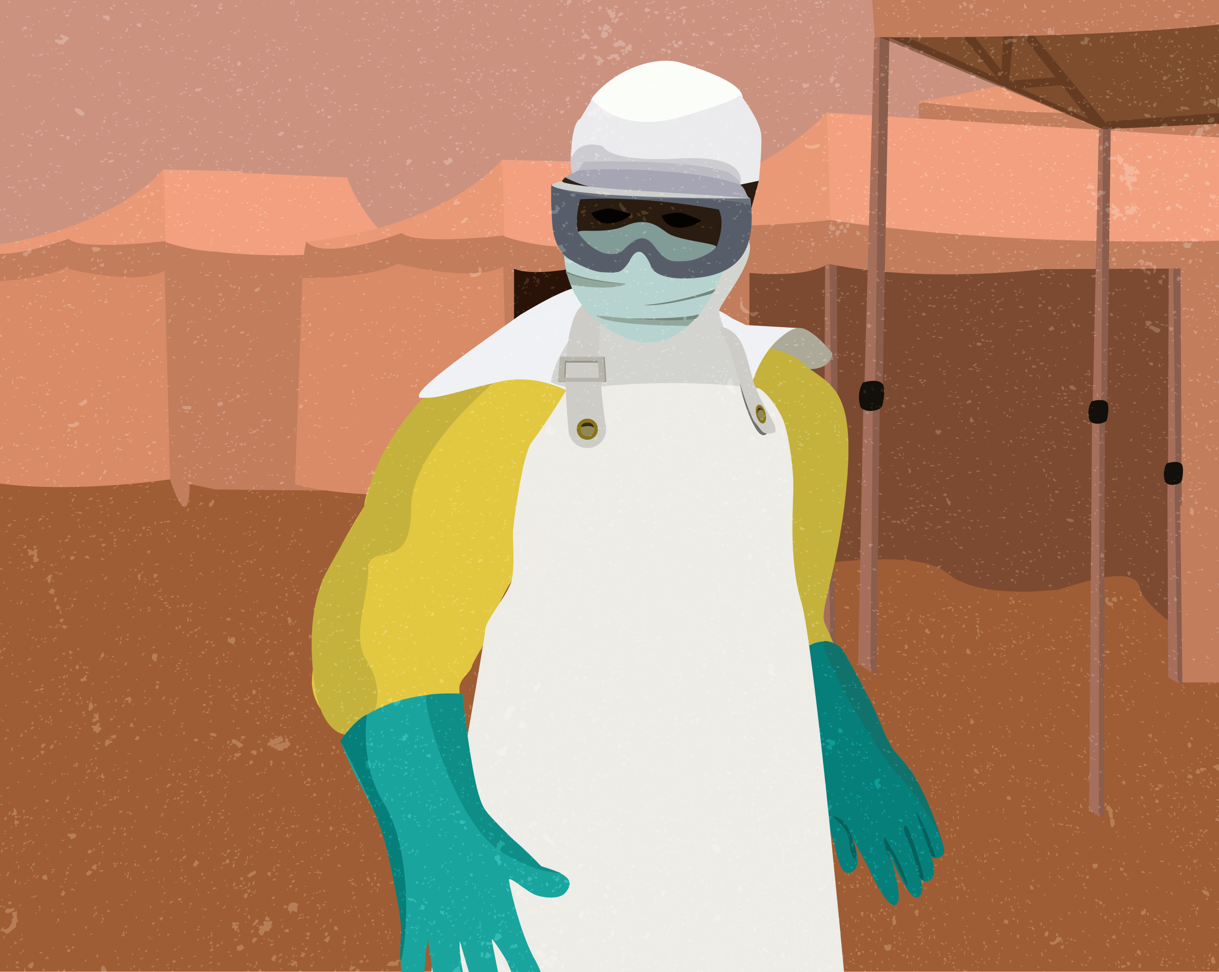 An illustration of a worker in full protective clothing—Ebola