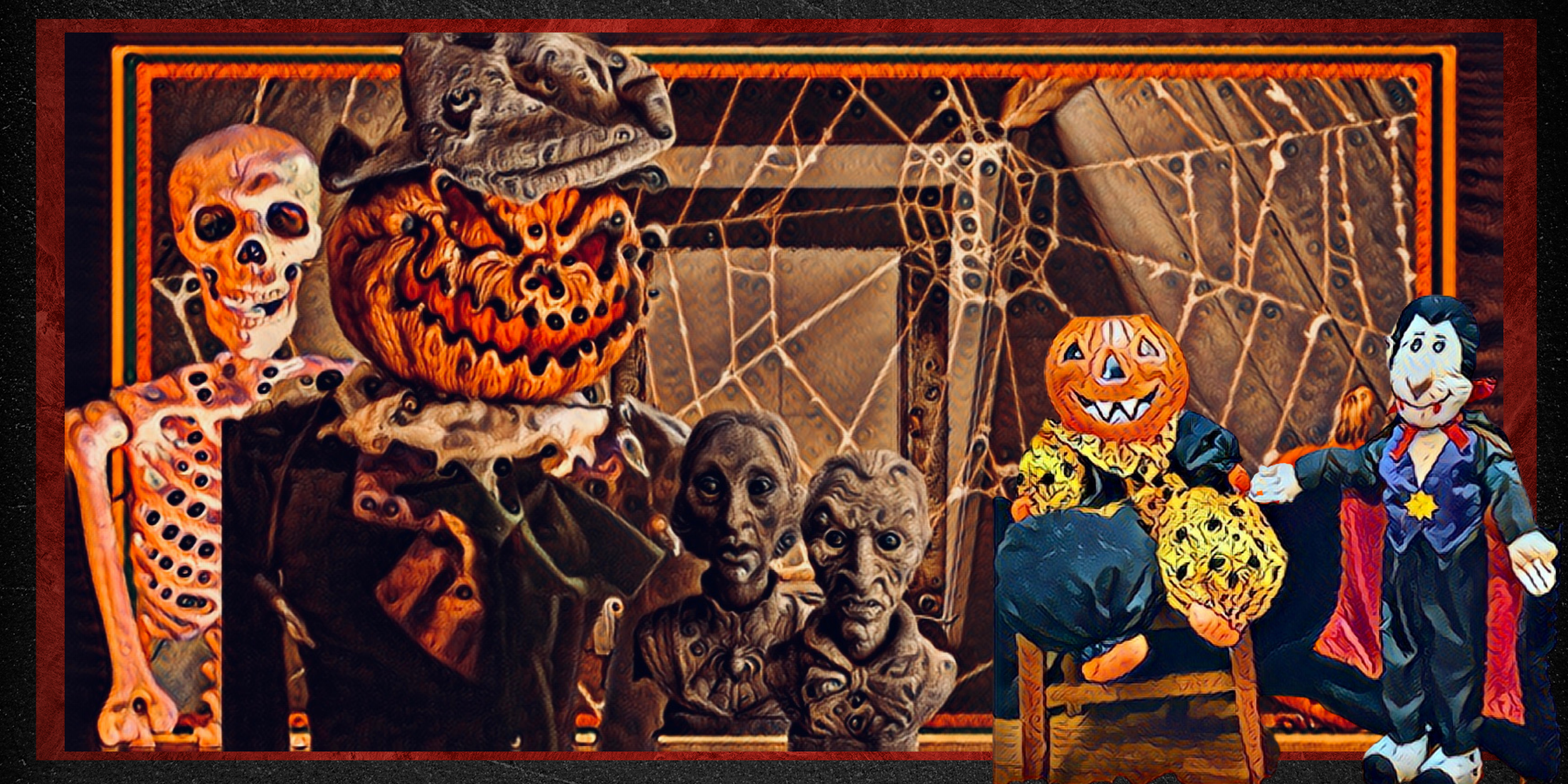 Blood Bones, Pumpkin Jack, Agatha and Phineas Greystone are in the attic with Jacky O and Dracula.