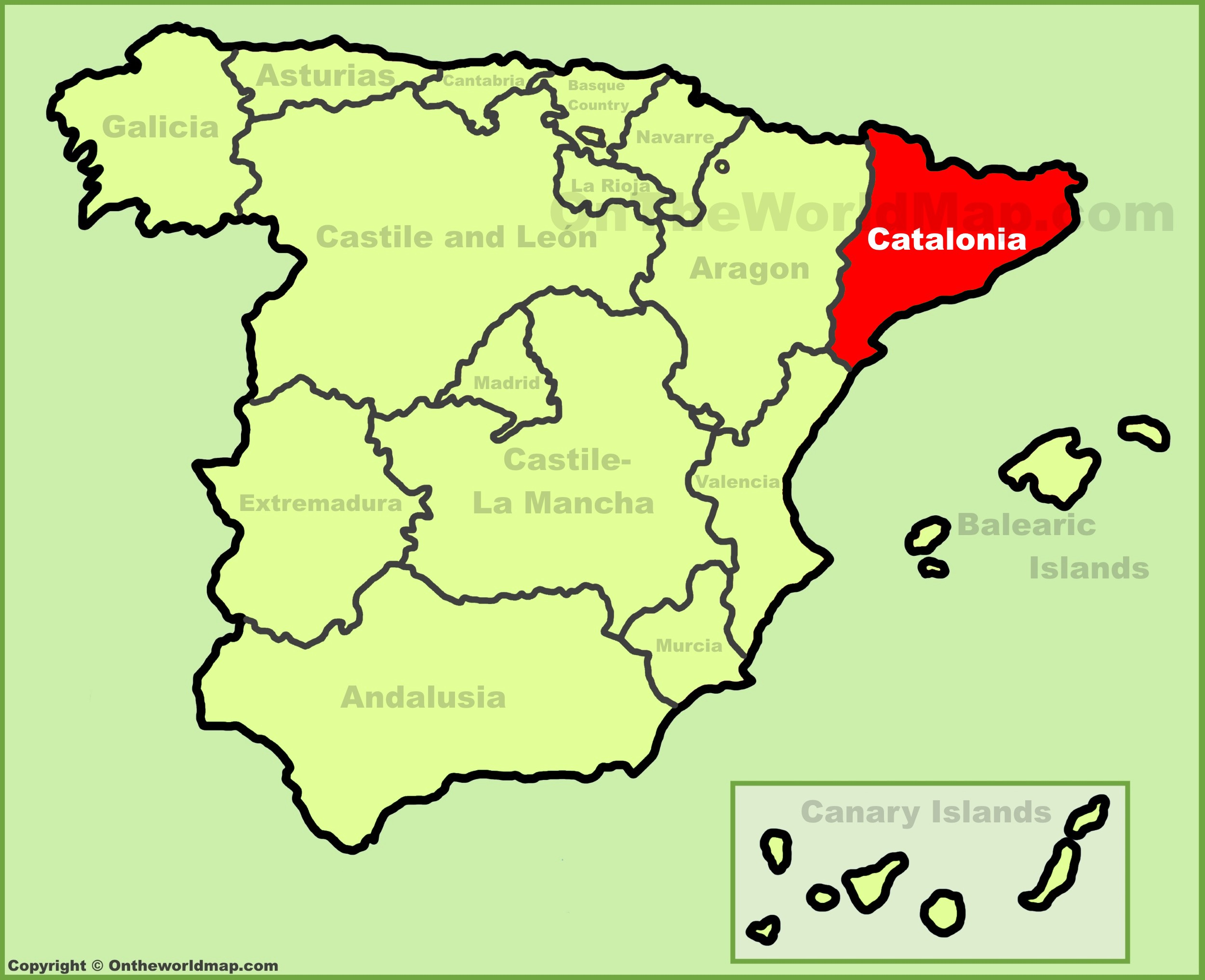 Map Of Spain With Catalonia Highlighted.What Makes A Nation State And Can Catalonia Be One