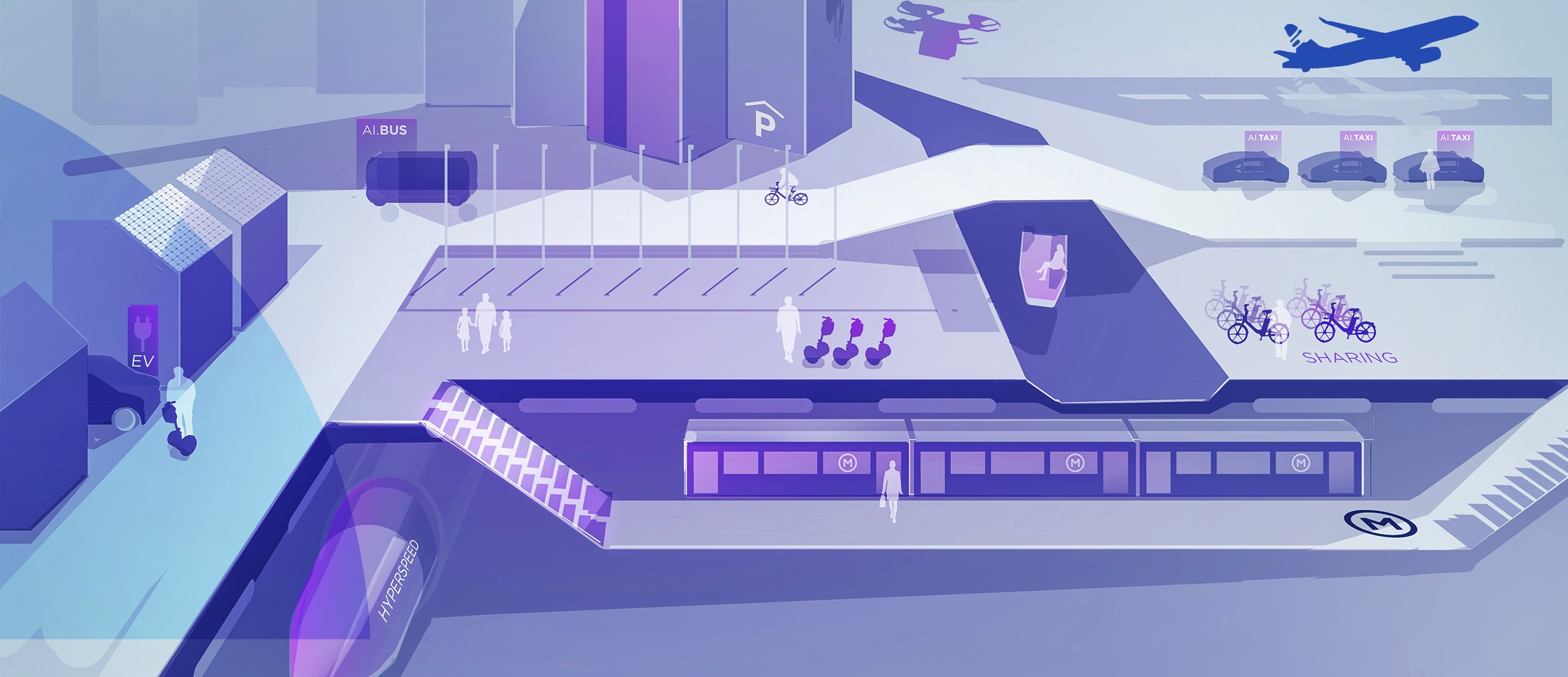 Illustration of the city with today's transportation possibilities.