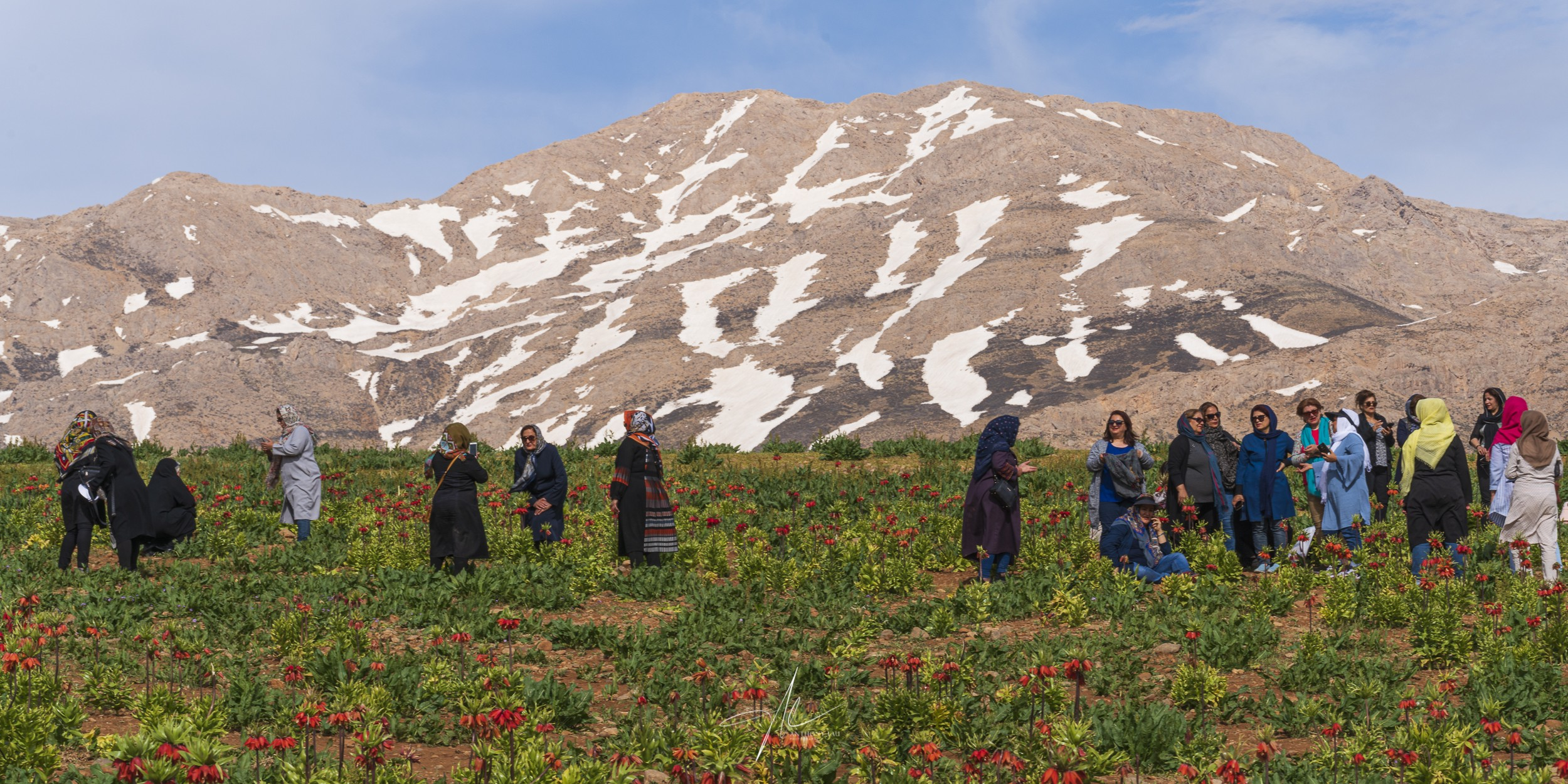 A group of Iranian women visiting the Crown Imperial colony in the Zagros Mountains range.