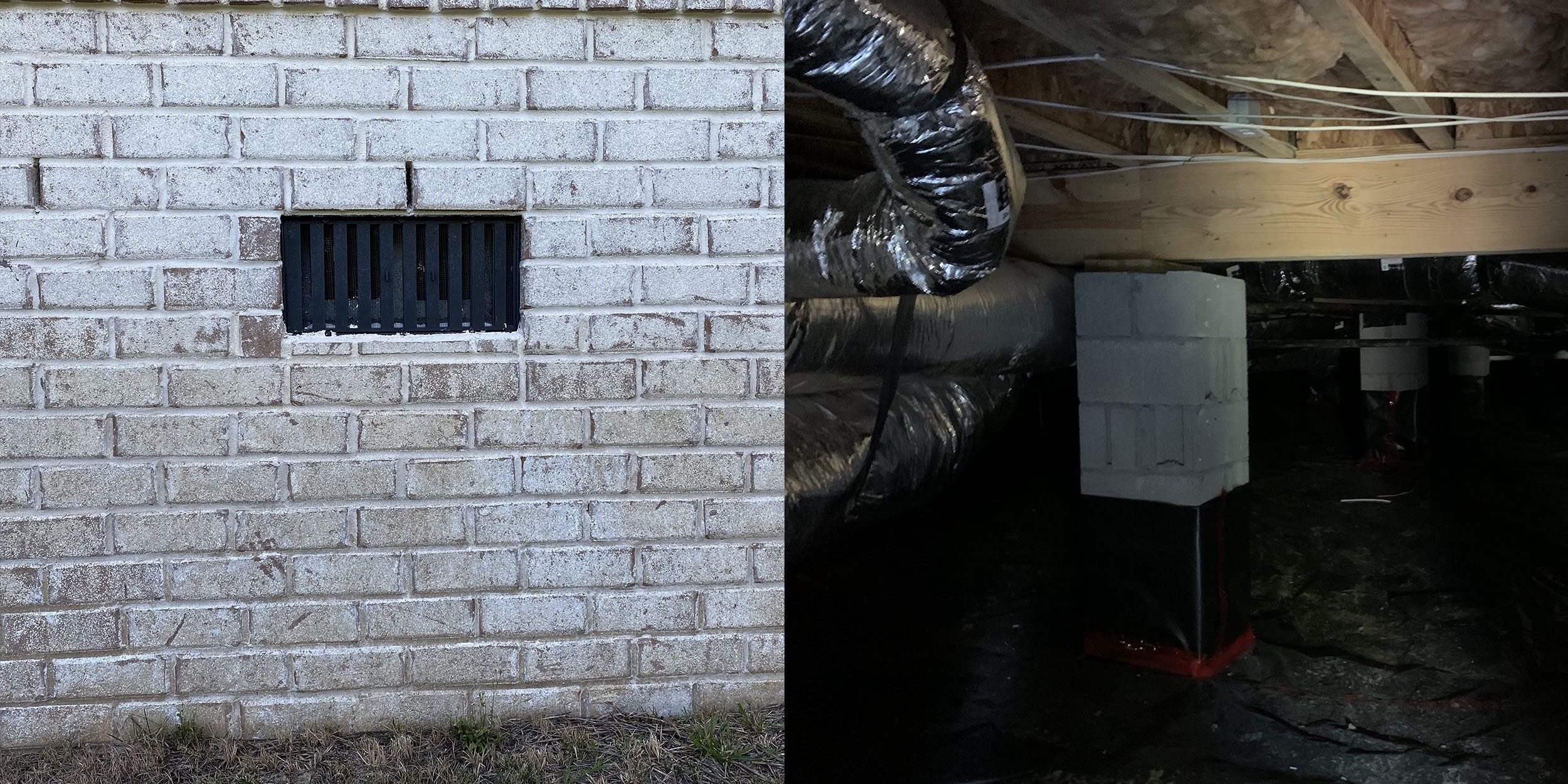 Vented crawl space with vapor barrier