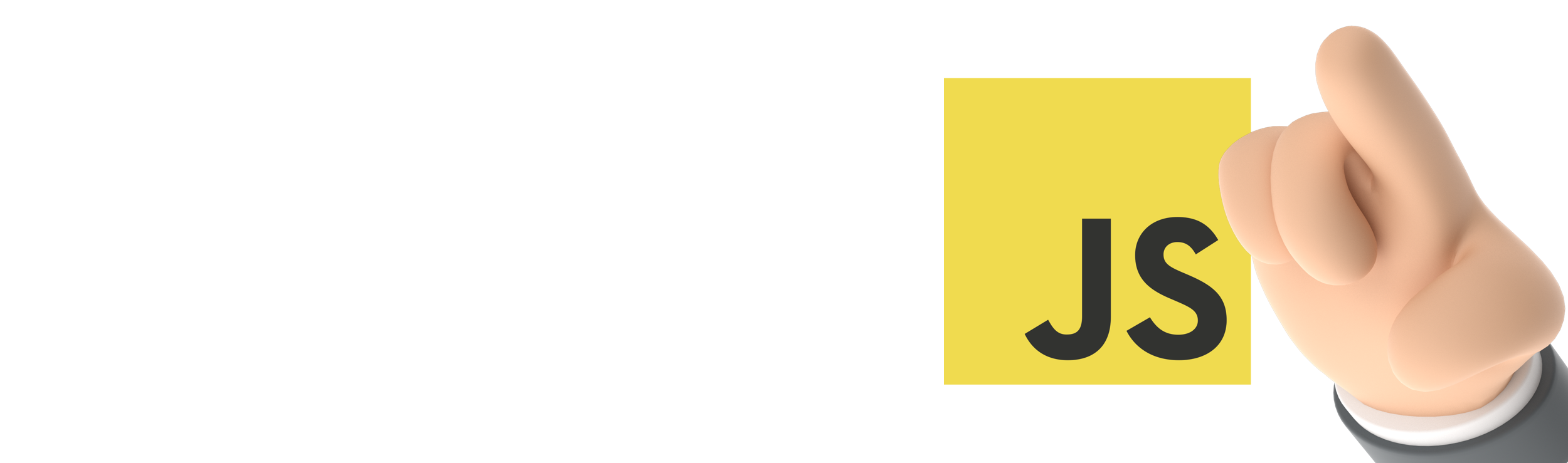 Yellow JS logo beside hand pointing