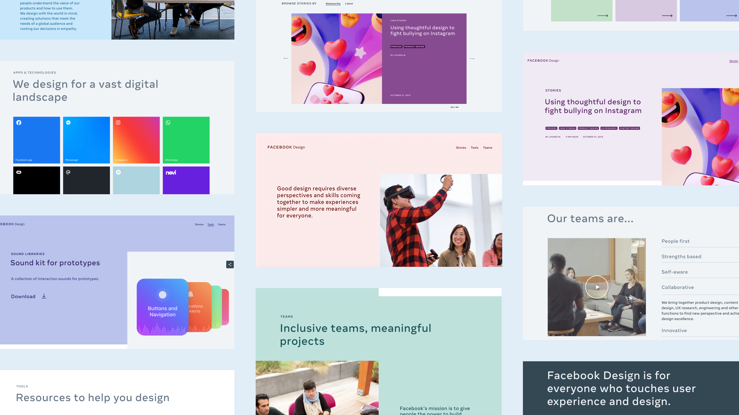 A montage of pages from the new Facebook Design site shows copy that expresses inclusivity and images showing diverse people