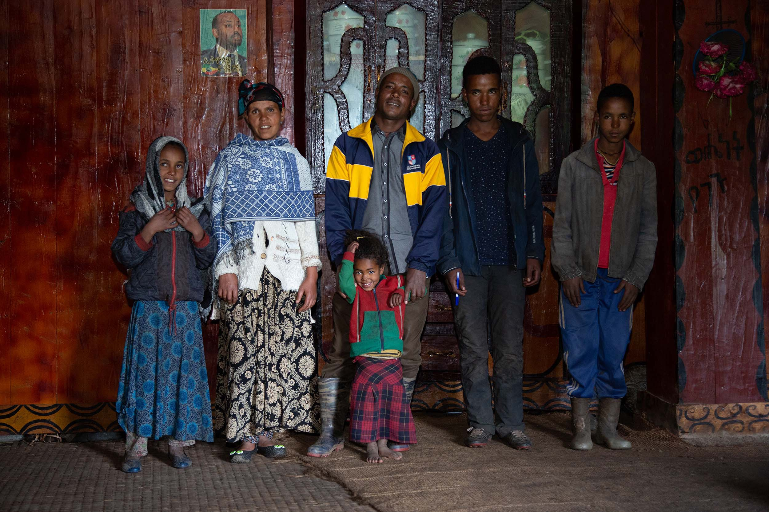 Nega Girma, from Muher Aklil in Ethiopia, with his family.