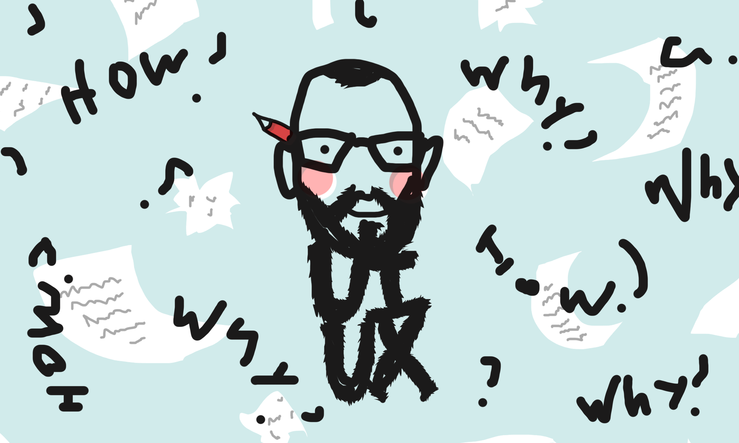 Badly drawn illustration of a floating head with flying papers all around. With a long beard shaped as the letters — UI, UX.