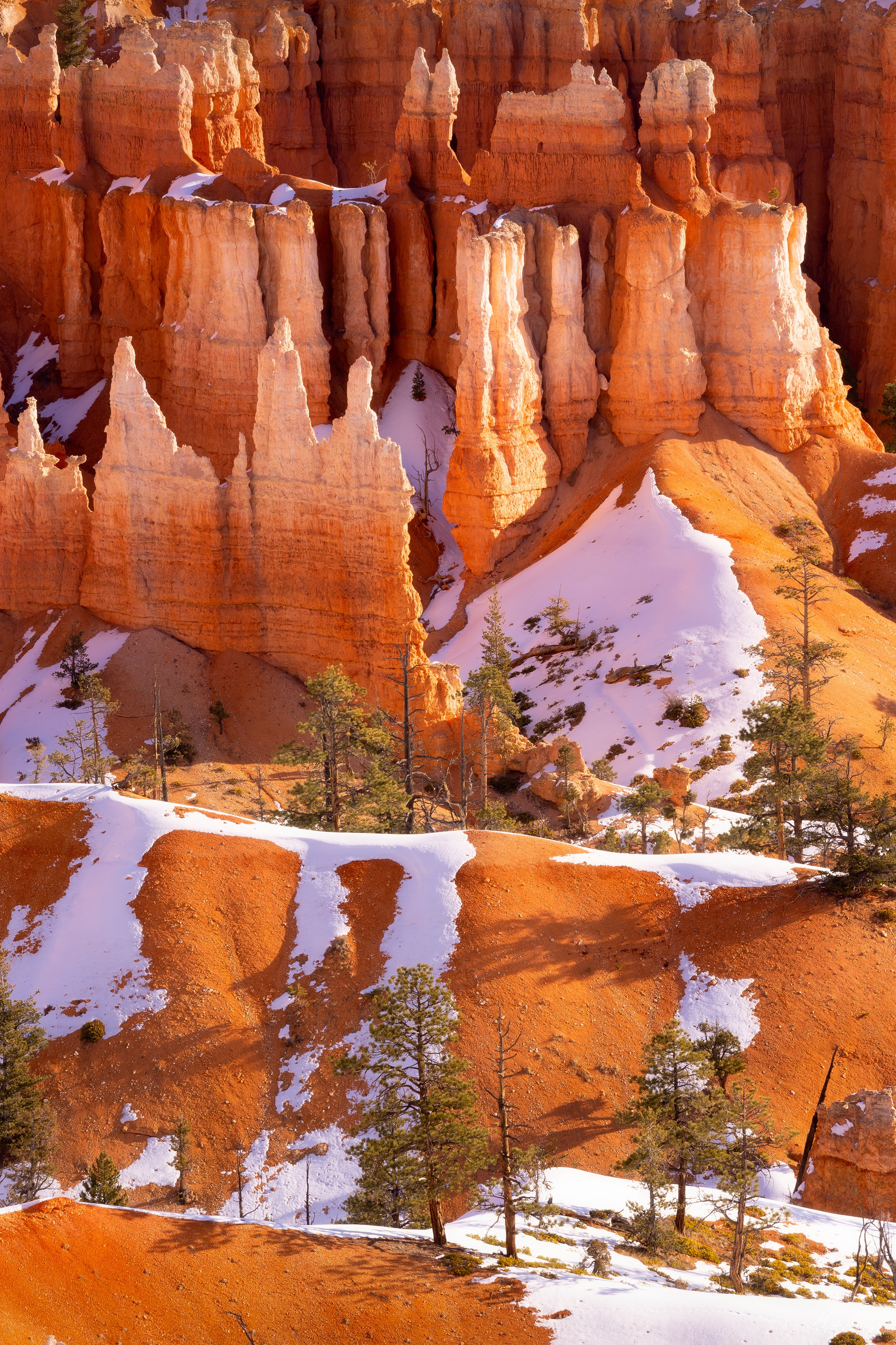 Desert landscape with hoodoos in the background and melting snow in the foreground.