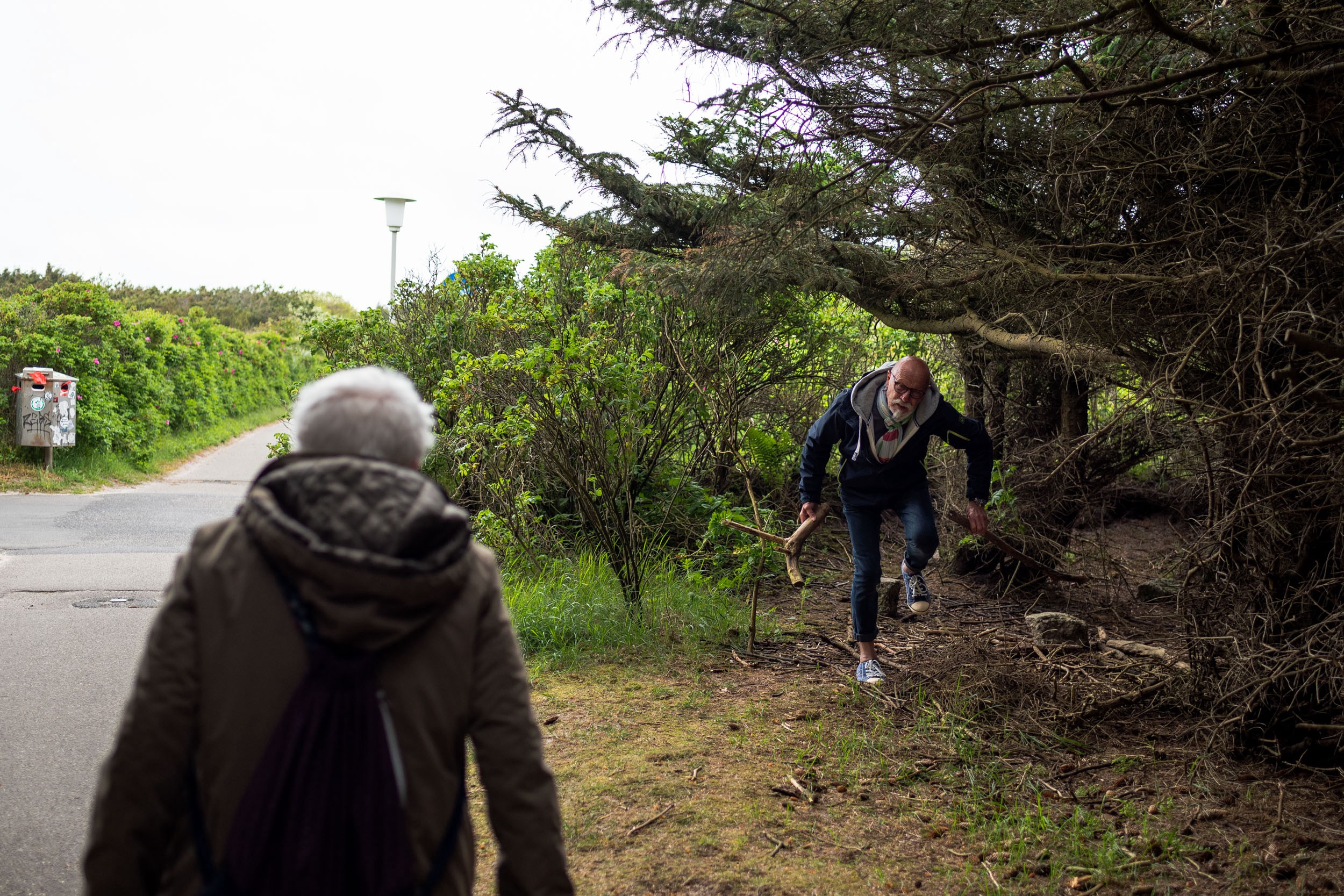 In the dunes between Westerland and Wenningstedt dad finds a tree branch and shows it to mom. Sylt, Germany, May 25, 2019.