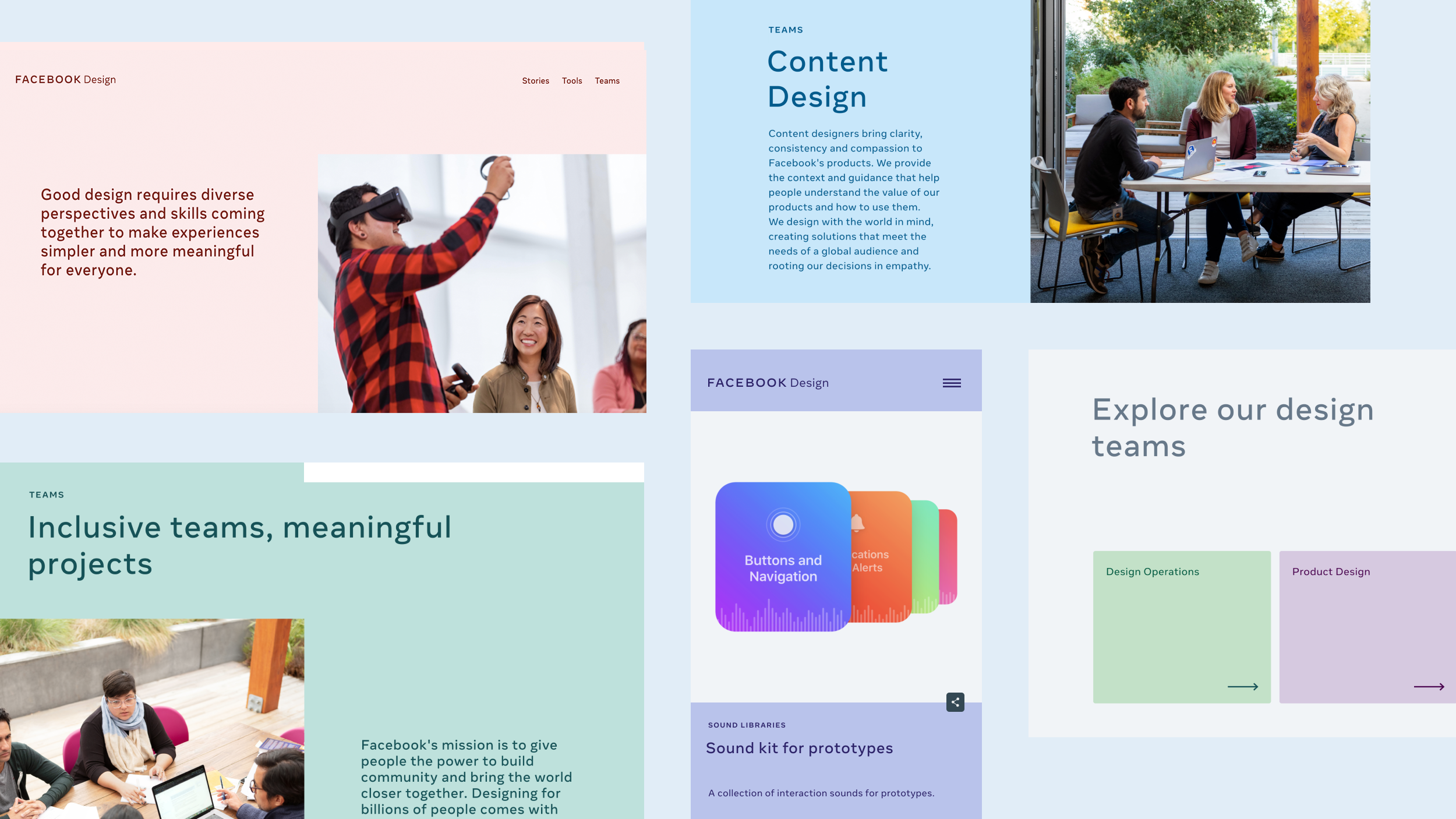 A montage of pages from the new Facebook Design site showcases the empathetic color palette used throughout the site.